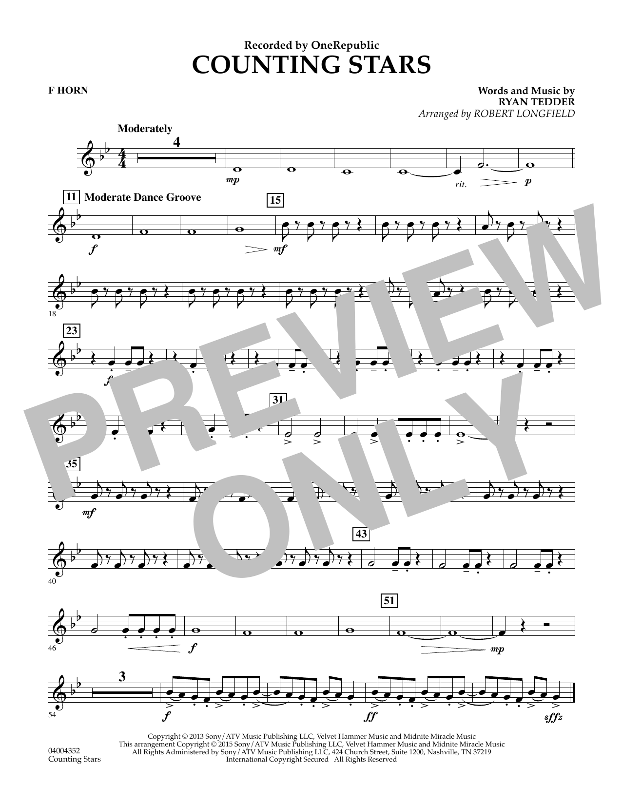 Counting Stars - F Horn (Concert Band)