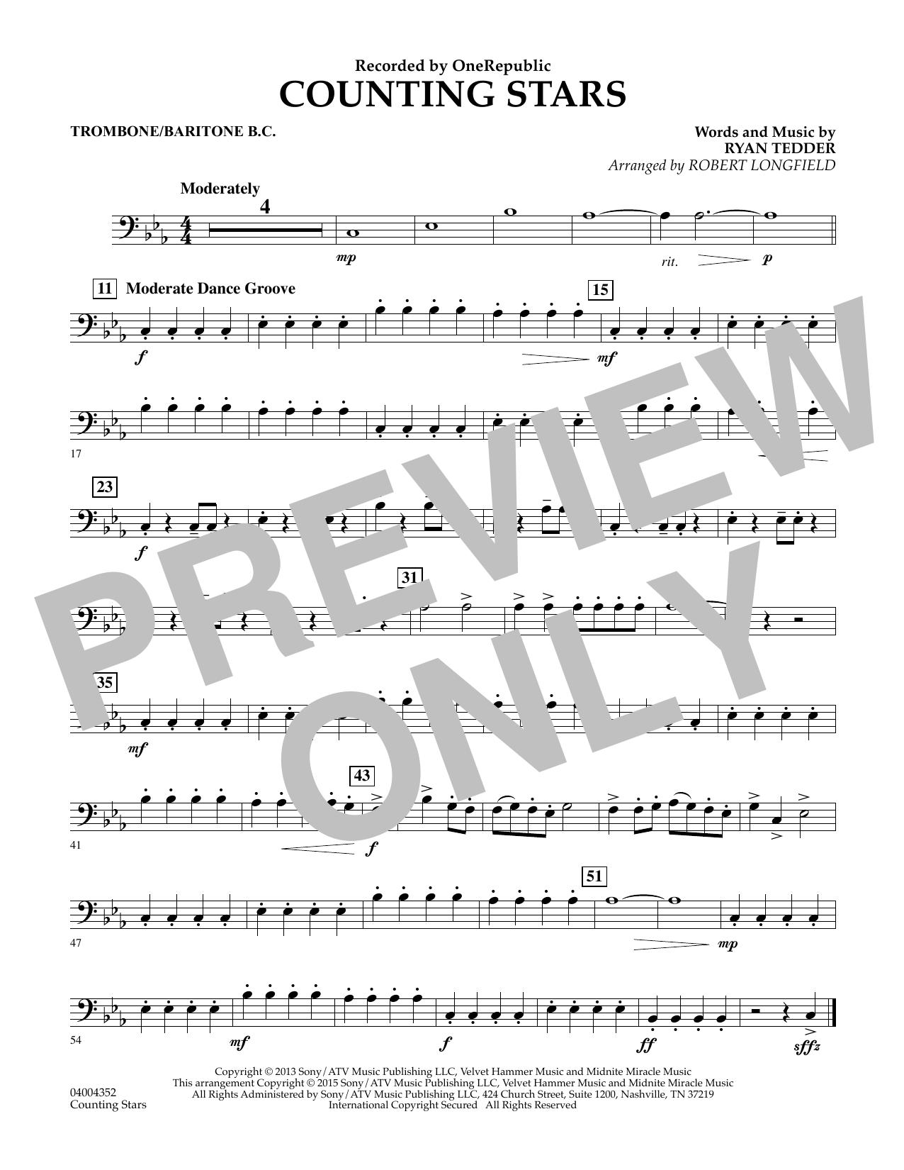 Counting Stars - Trombone/Baritone B.C. (Concert Band)