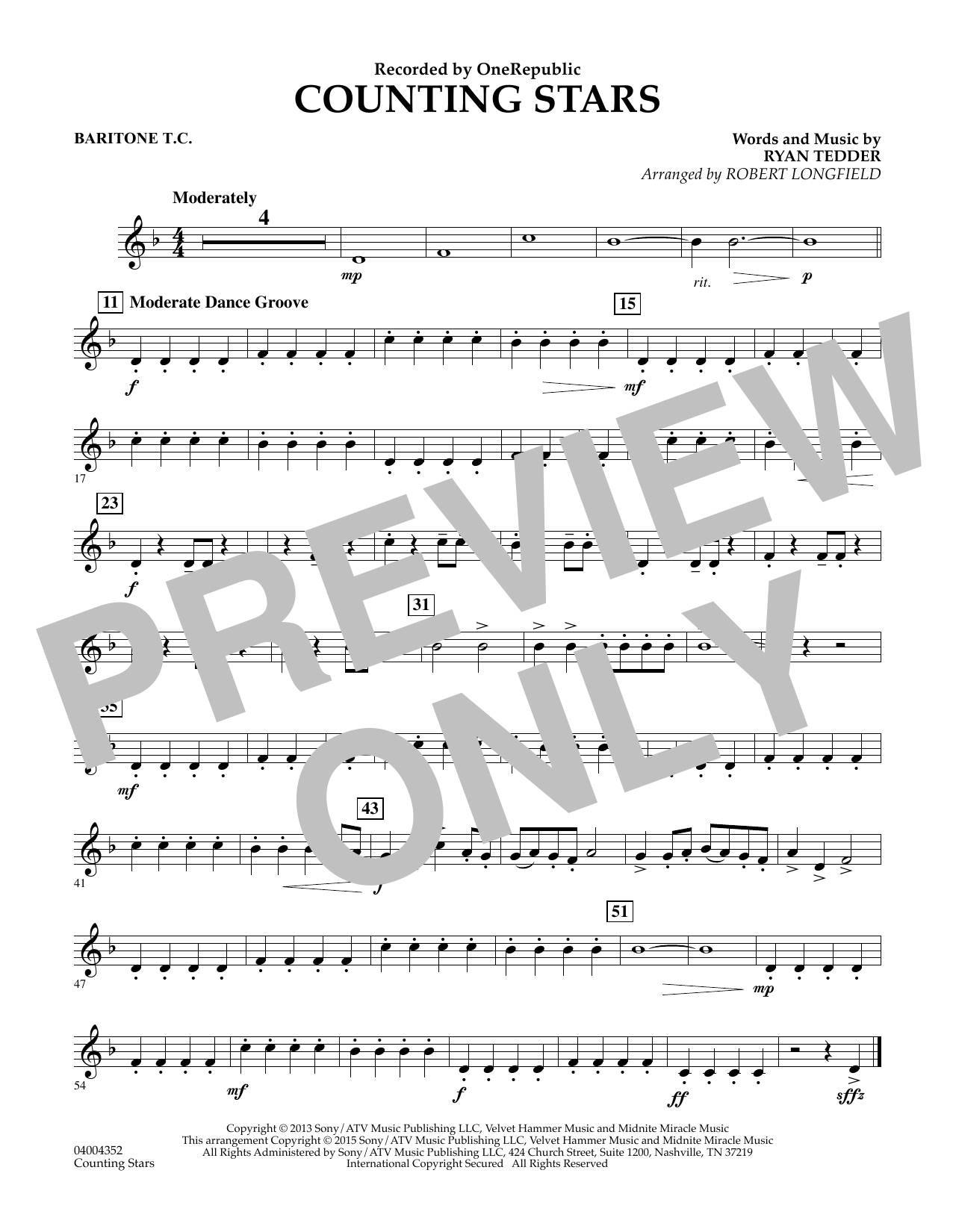 Counting Stars - Baritone T.C. (Concert Band)