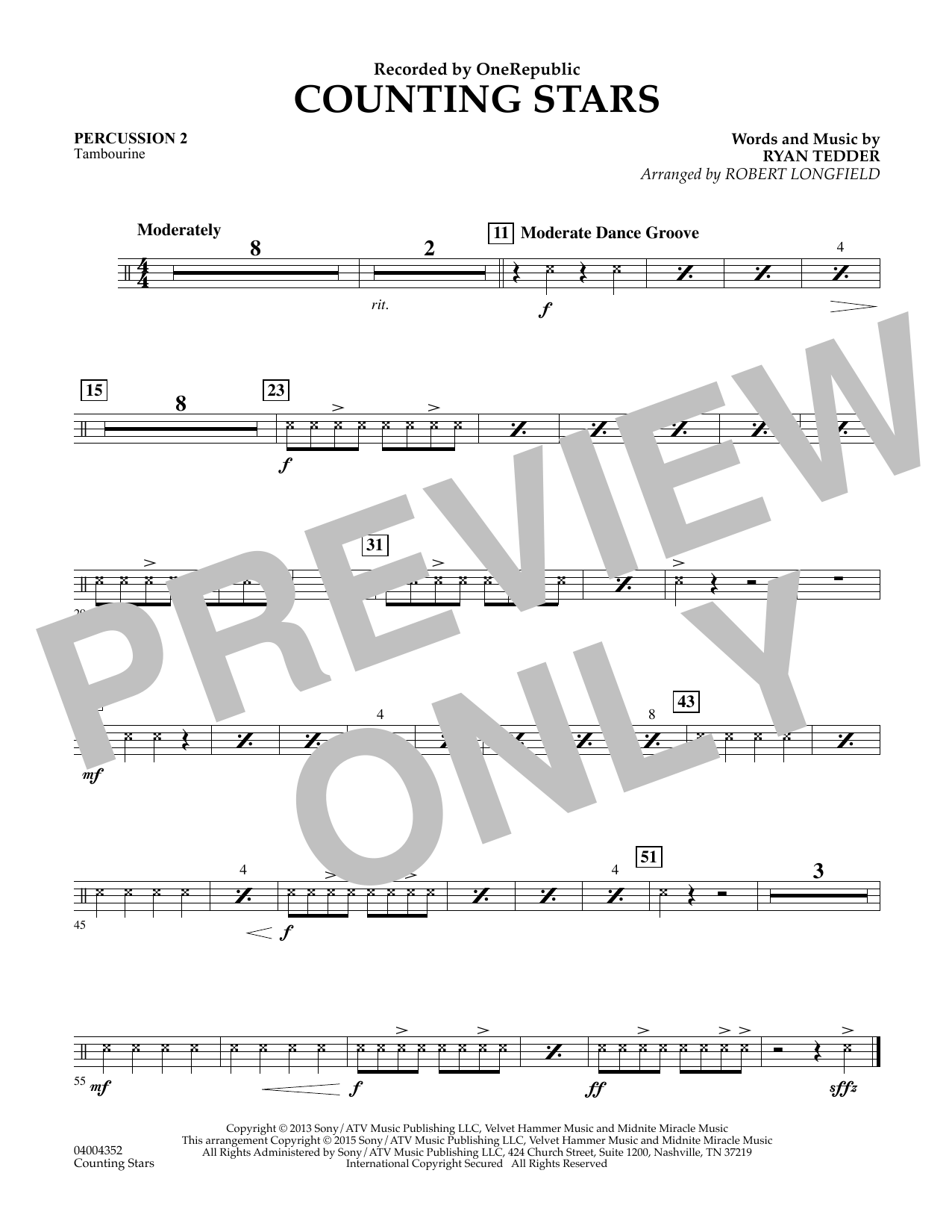 Counting Stars - Percussion 2 (Concert Band)