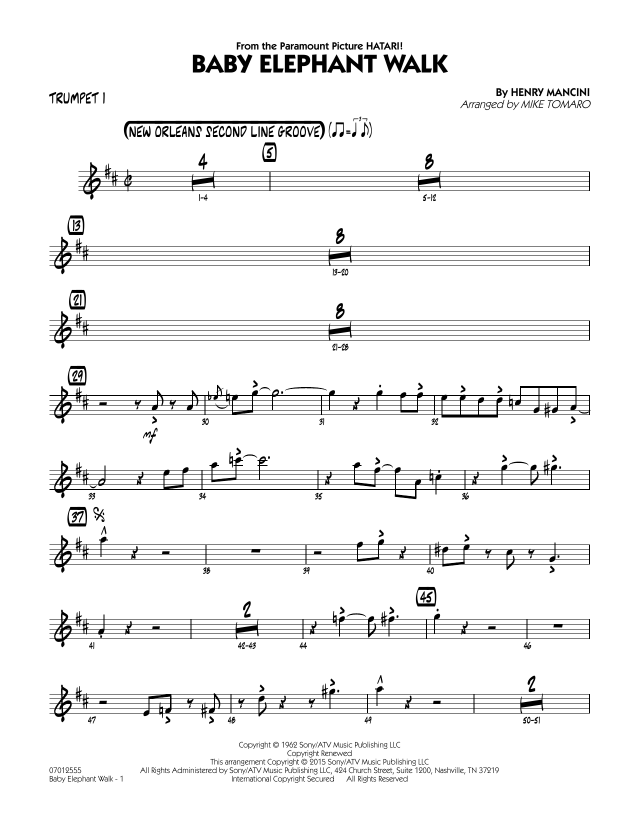 Baby Elephant Walk - Trumpet 1 Sheet Music
