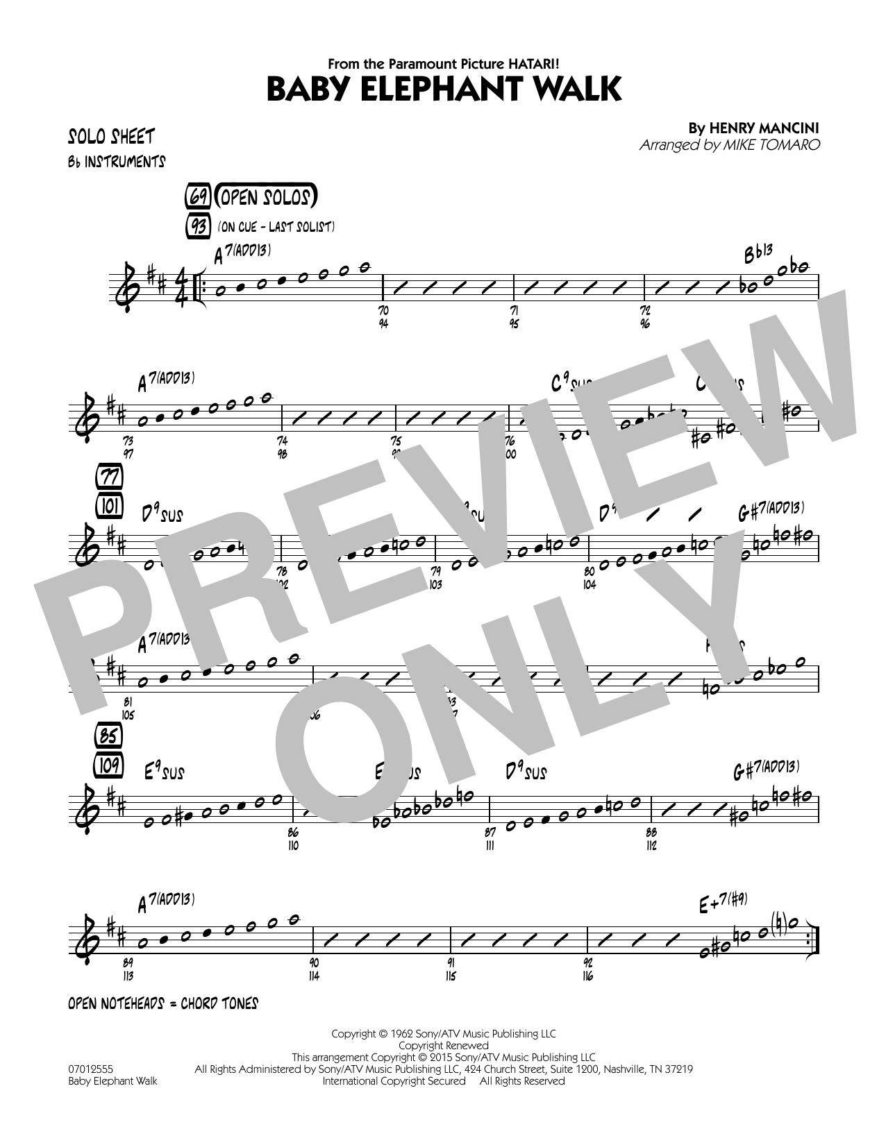Baby Elephant Walk - Bb Solo Sheet (Jazz Ensemble)