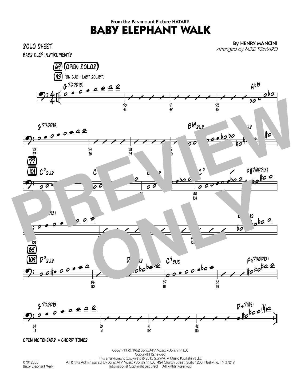 Baby Elephant Walk - Bass Clef Solo Sheet