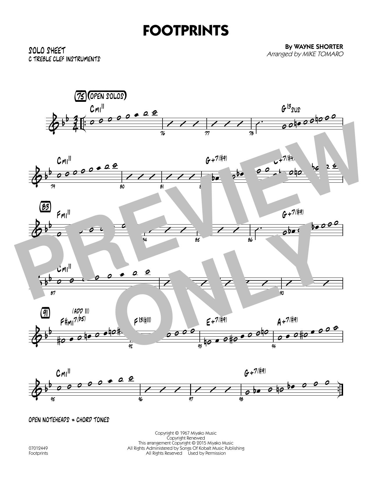 Footprints - C Solo Sheet (Jazz Ensemble)