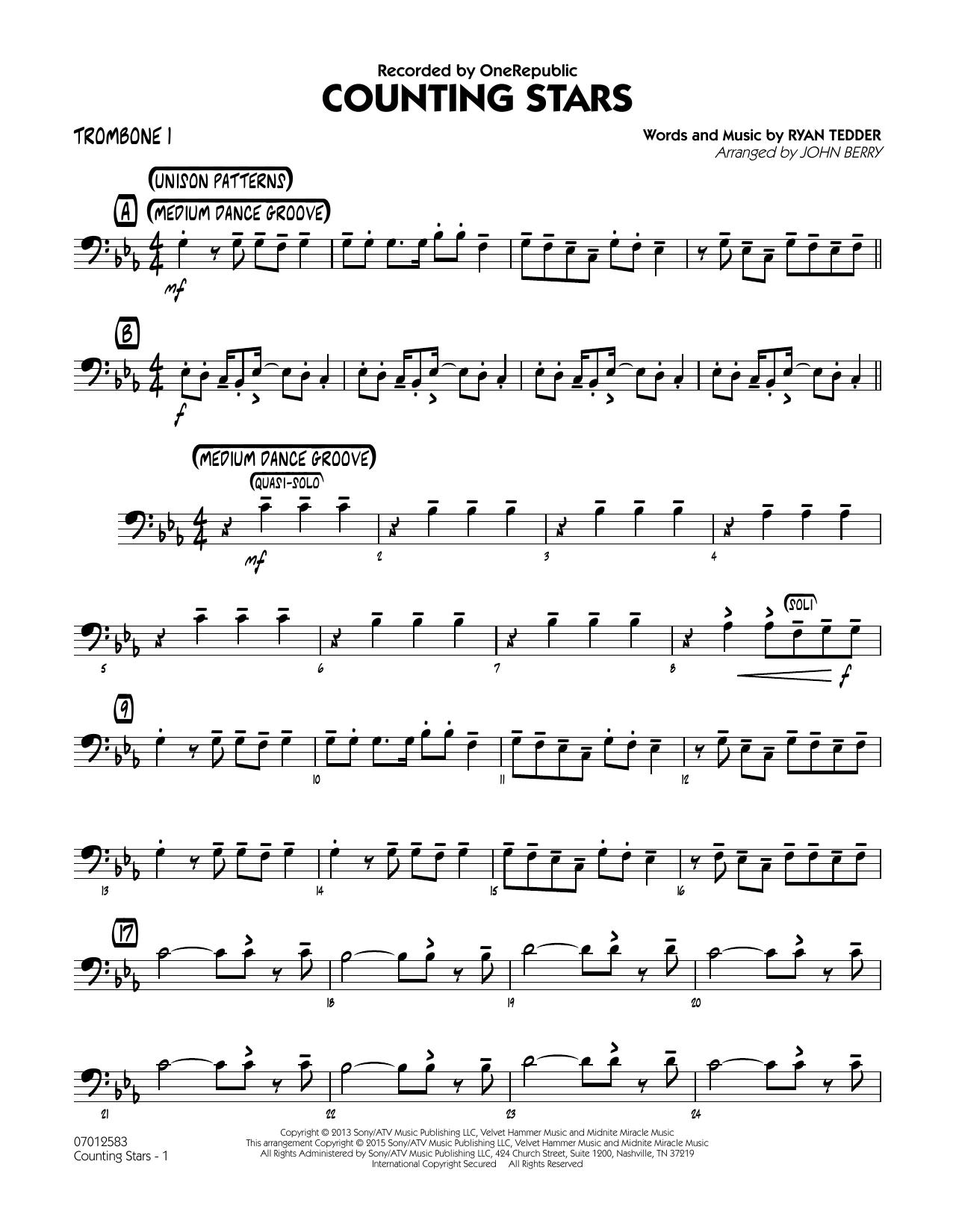 Counting Stars - Trombone 1 (Jazz Ensemble)