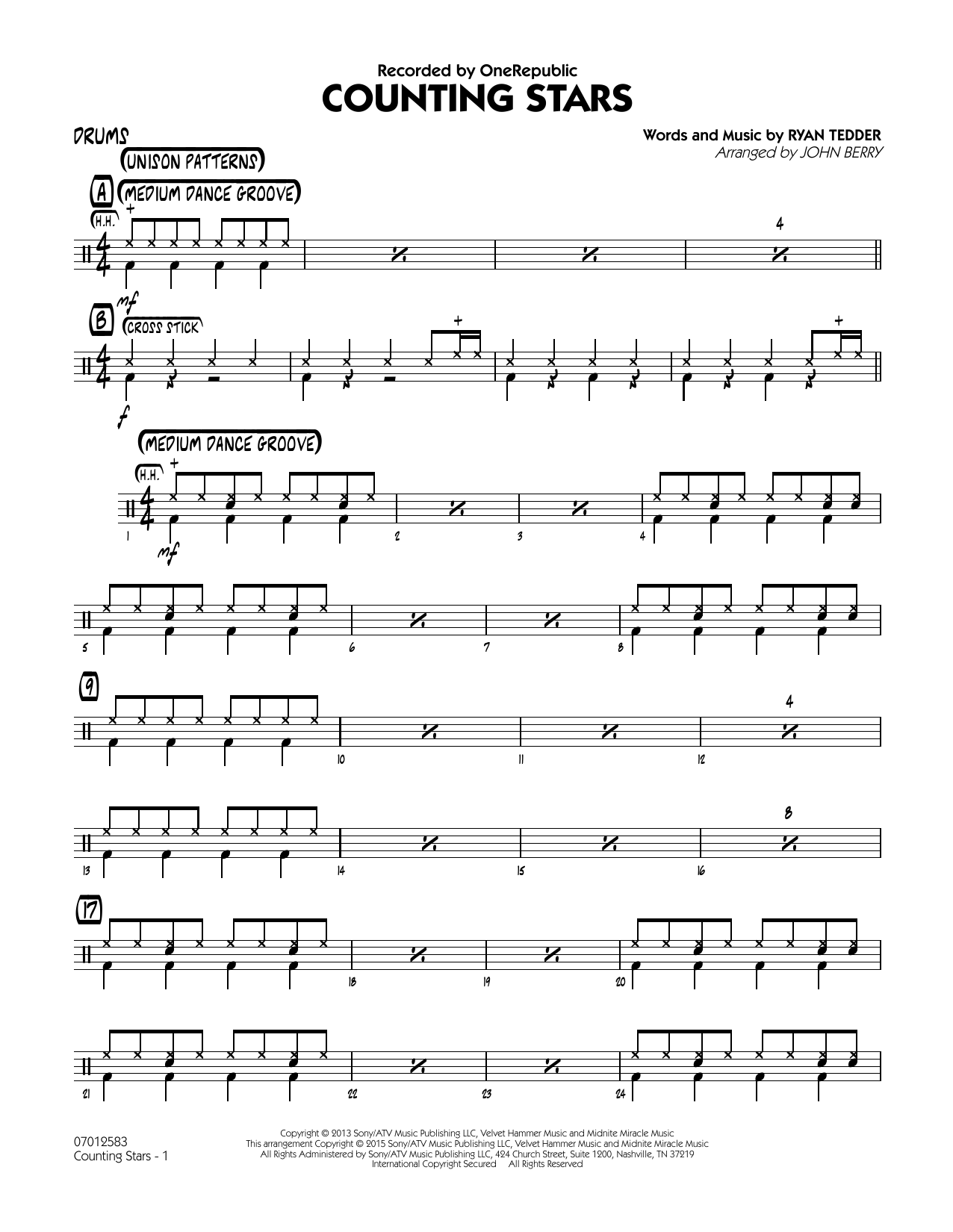 Counting Stars - Drums (Jazz Ensemble)