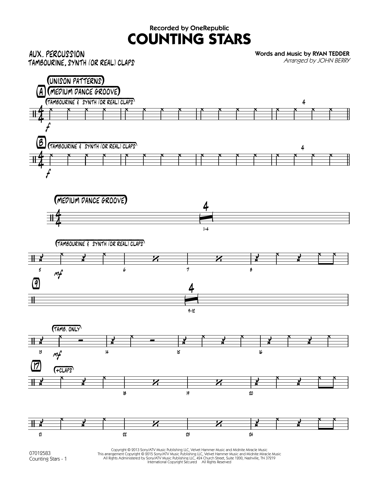 Counting Stars - Aux Percussion (Jazz Ensemble)