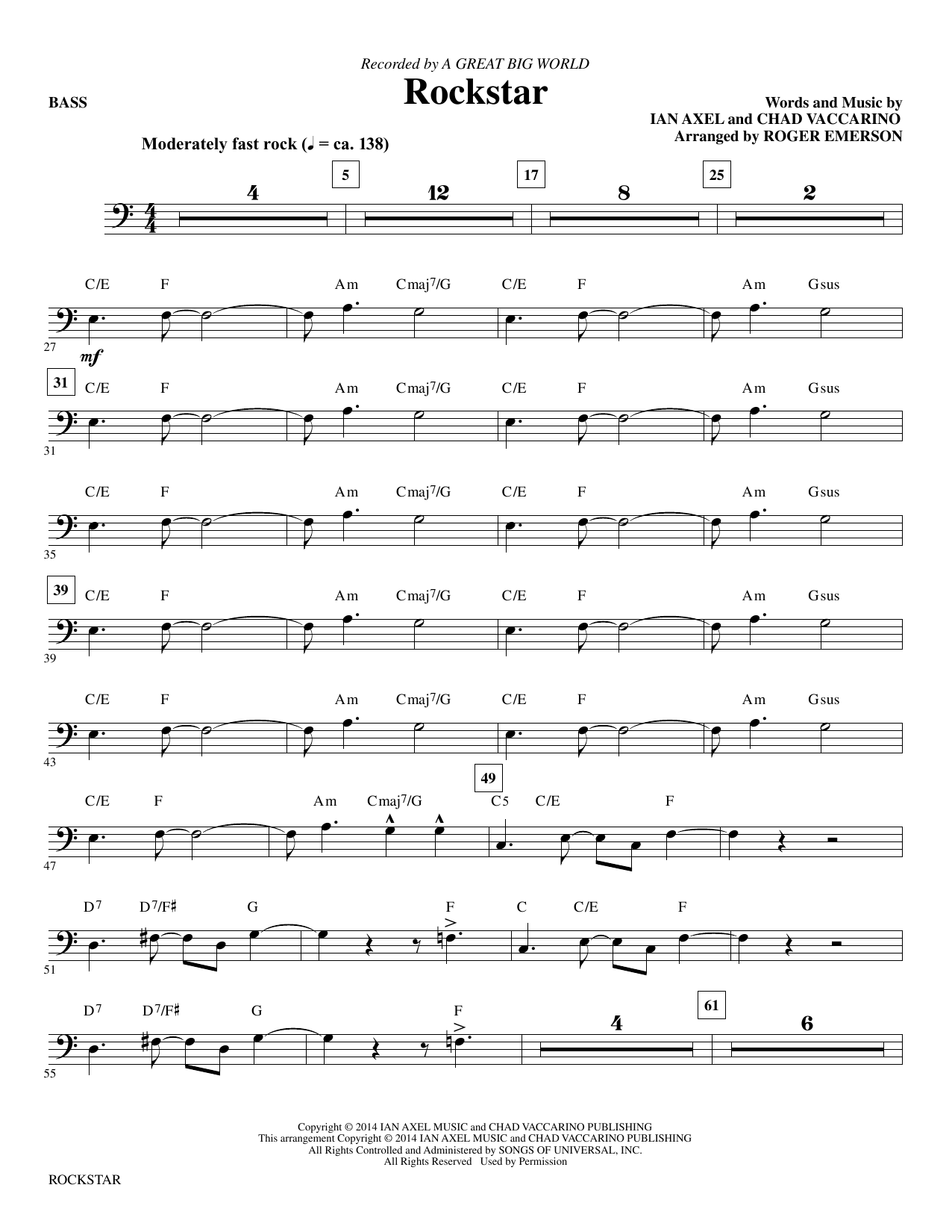Rockstar - Bass Sheet Music