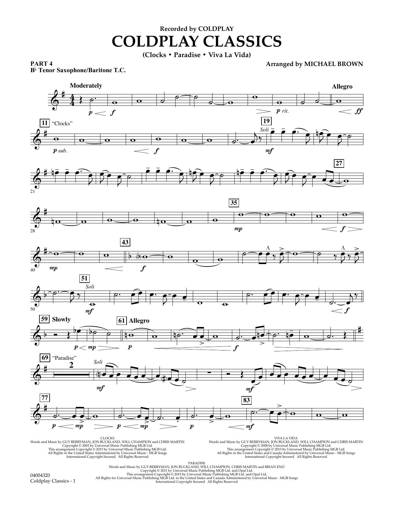 Coldplay Classics - Pt.4 - Bb Tenor Sax/Bar. T.C. (Flex-Band)
