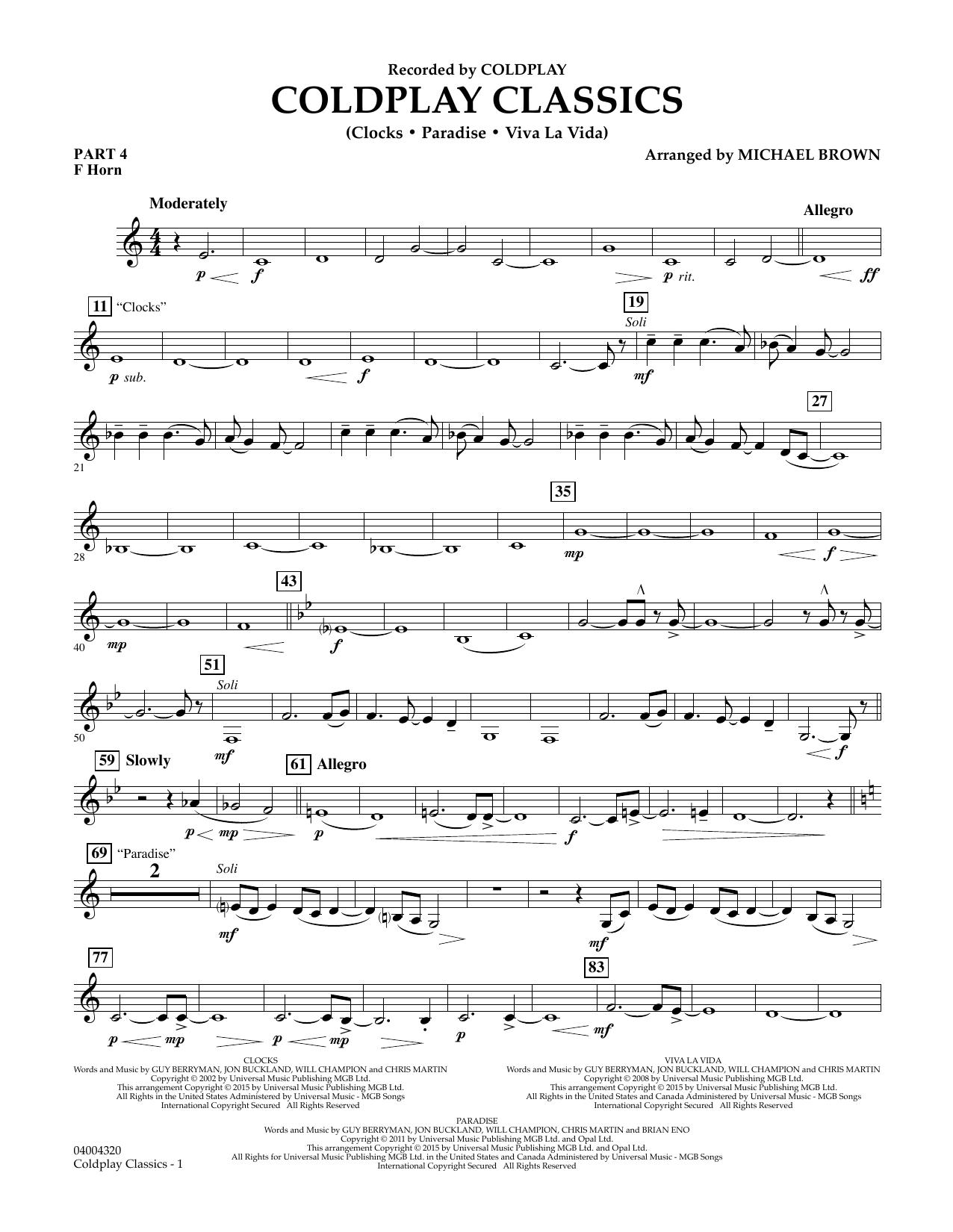 Coldplay Classics - Pt.4 - F Horn (Flex-Band)
