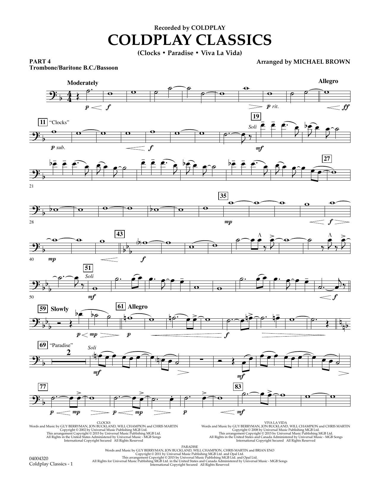 Coldplay Classics - Pt.4 - Trombone/Bar. B.C./Bsn. (Concert Band)