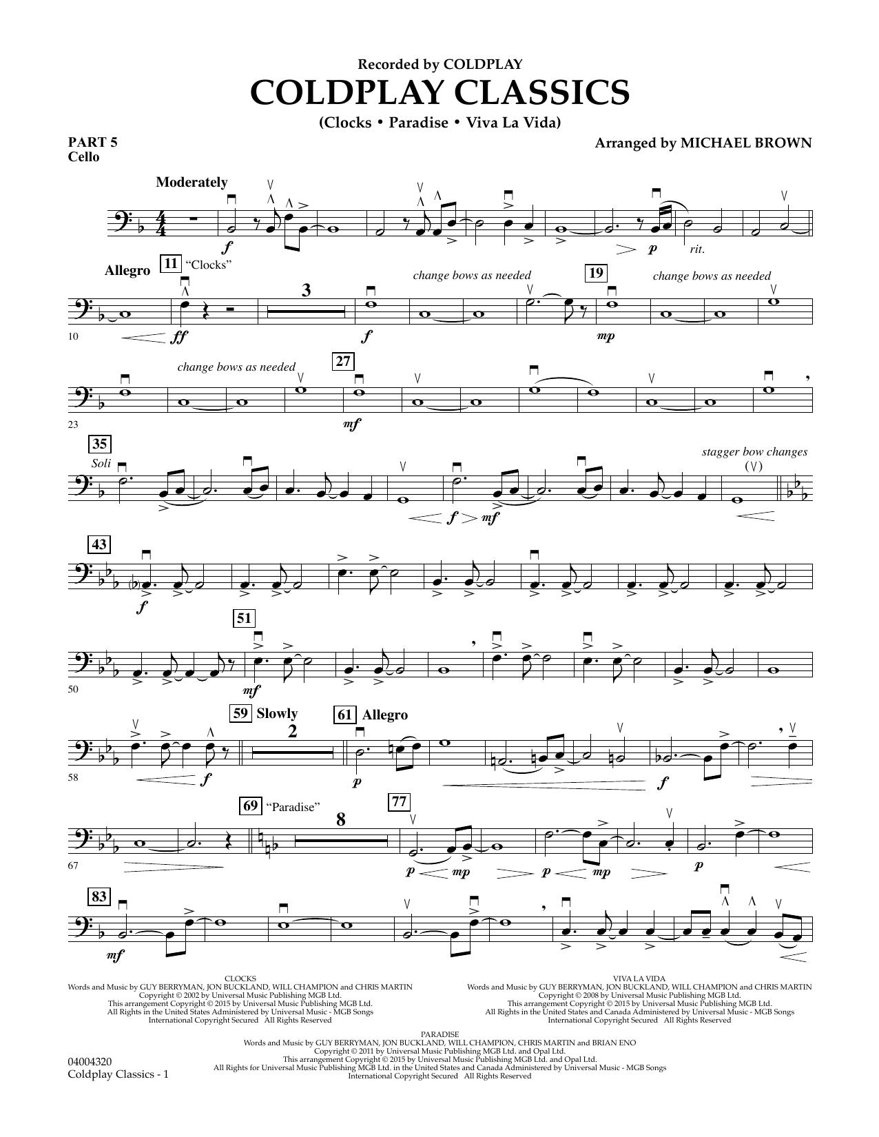 Coldplay Classics - Pt.5 - Cello (Concert Band)