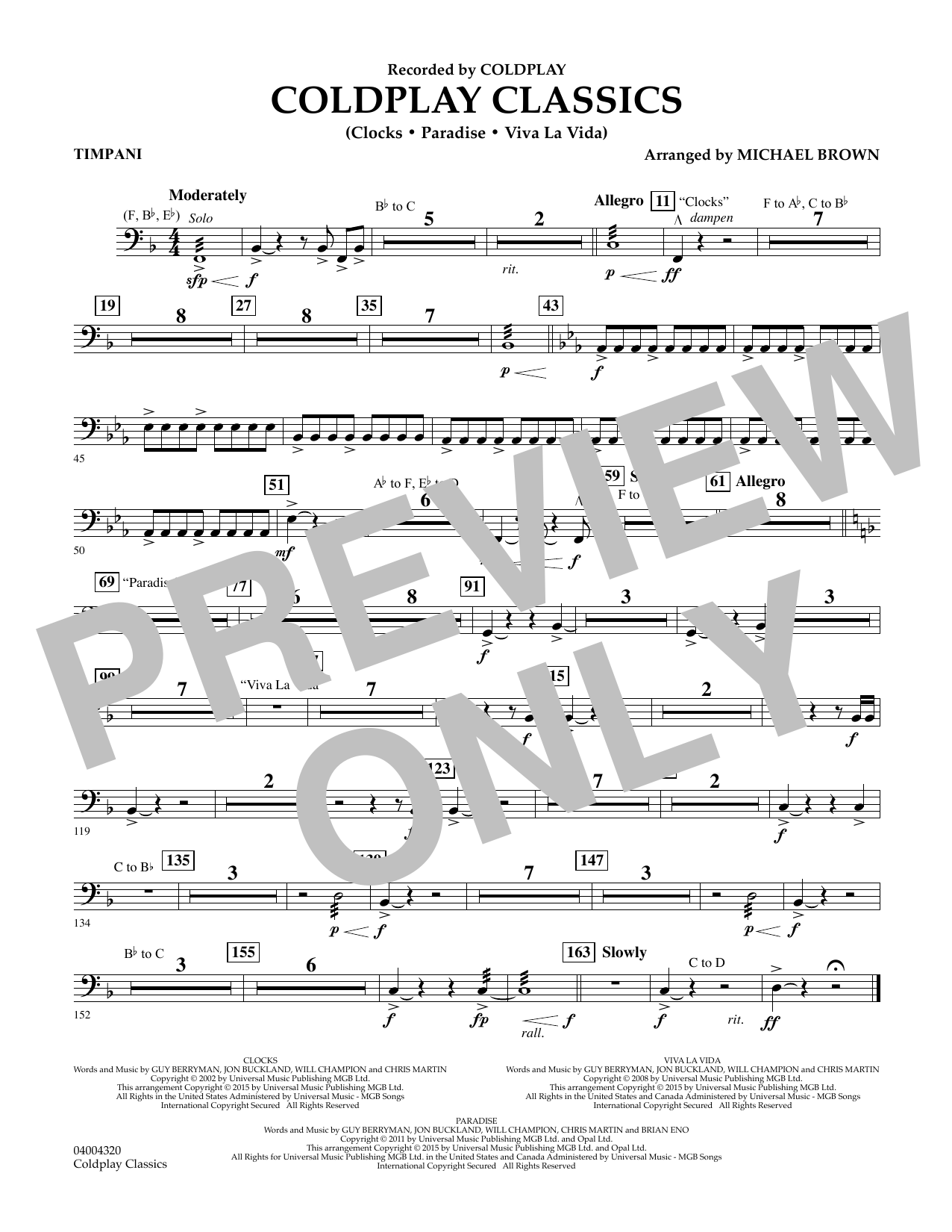Coldplay Classics - Timpani Digitale Noten