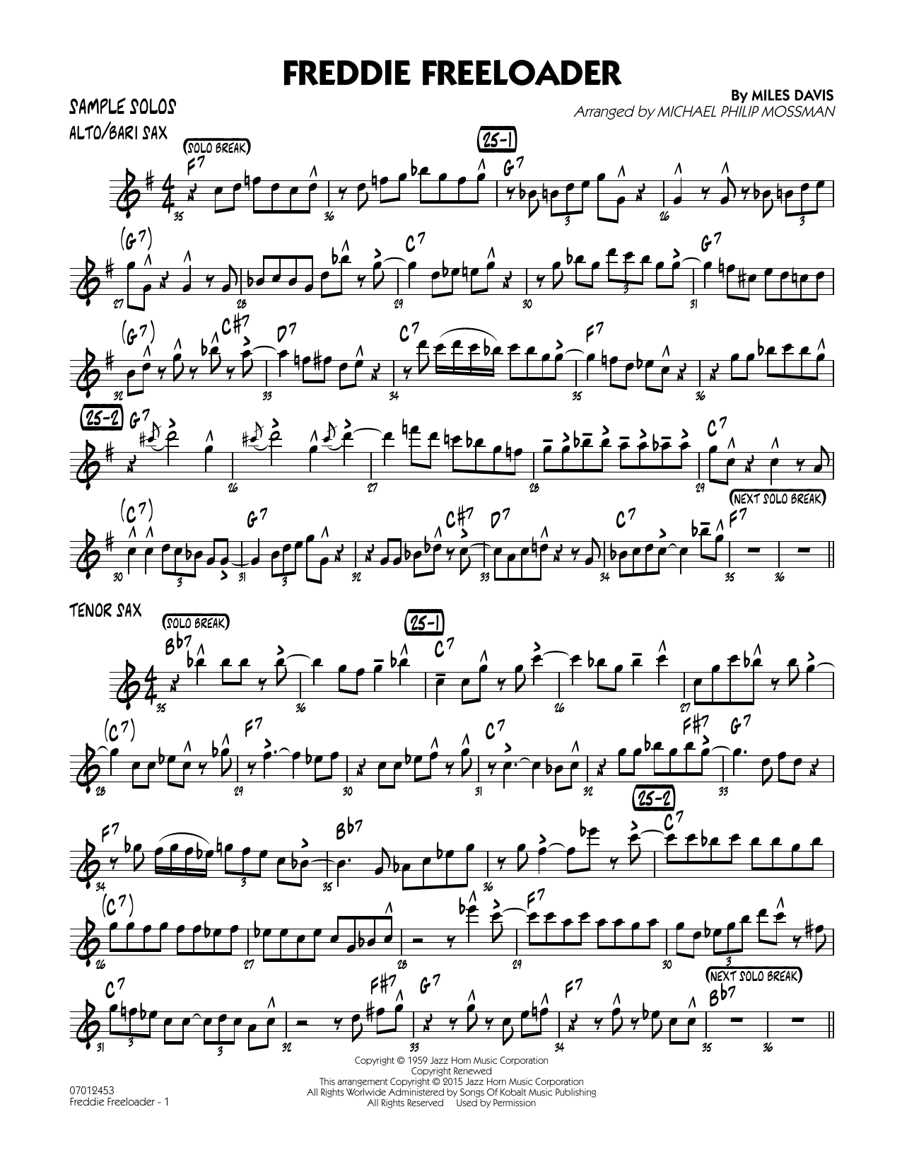 Freddie Freeloader - Sample Solos (Jazz Ensemble)