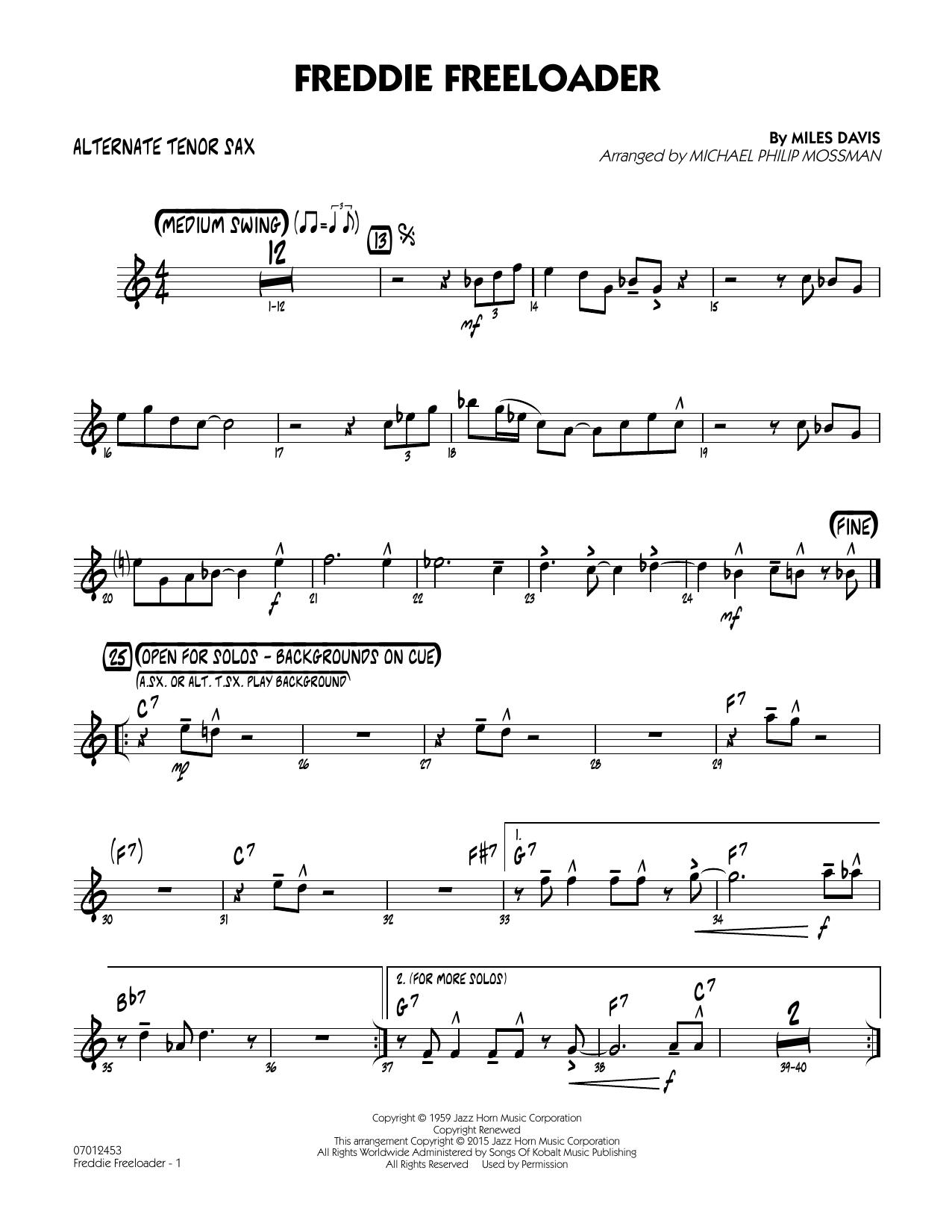 Freddie Freeloader - Alternate Tenor Sax by Michael Philip Mossman Jazz  Ensemble Digital Sheet Music
