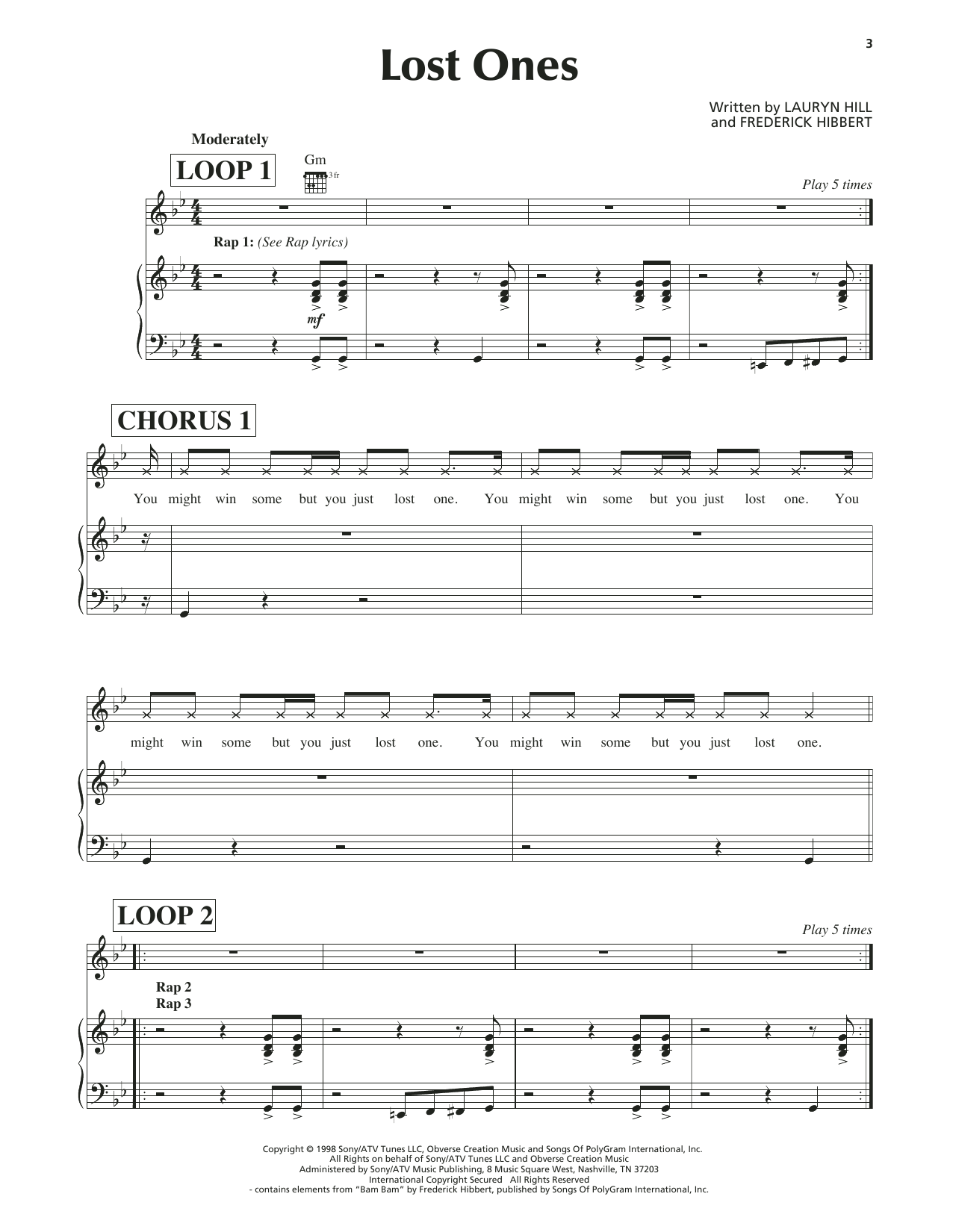 Lost Ones Sheet Music