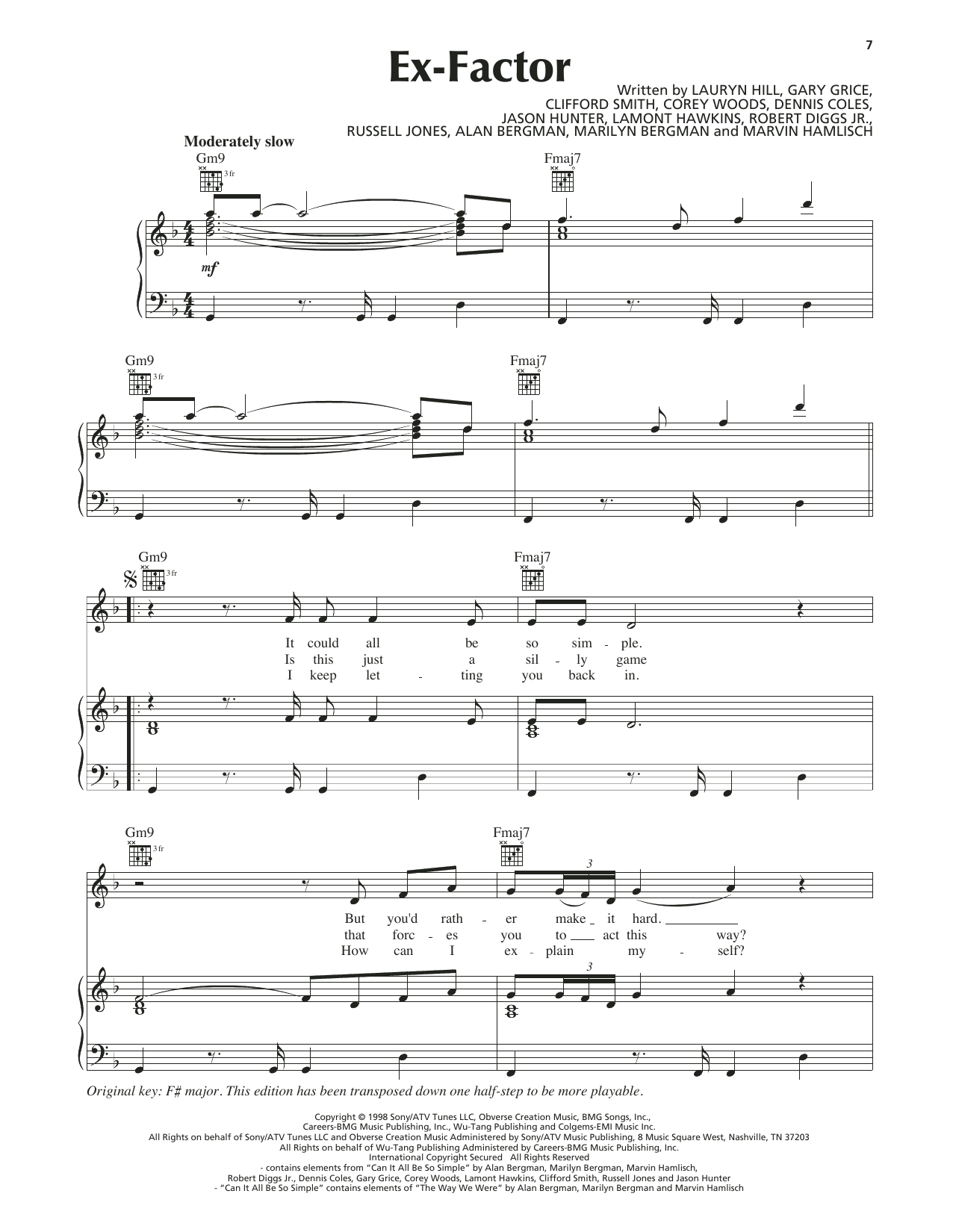 Ex-Factor (Piano, Vocal & Guitar (Right-Hand Melody))