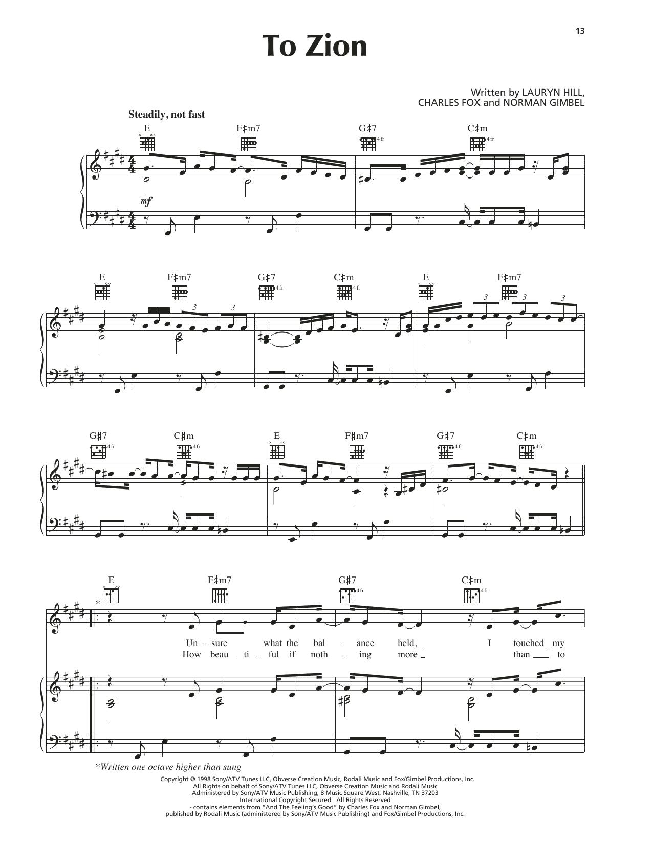 To Zion Sheet Music