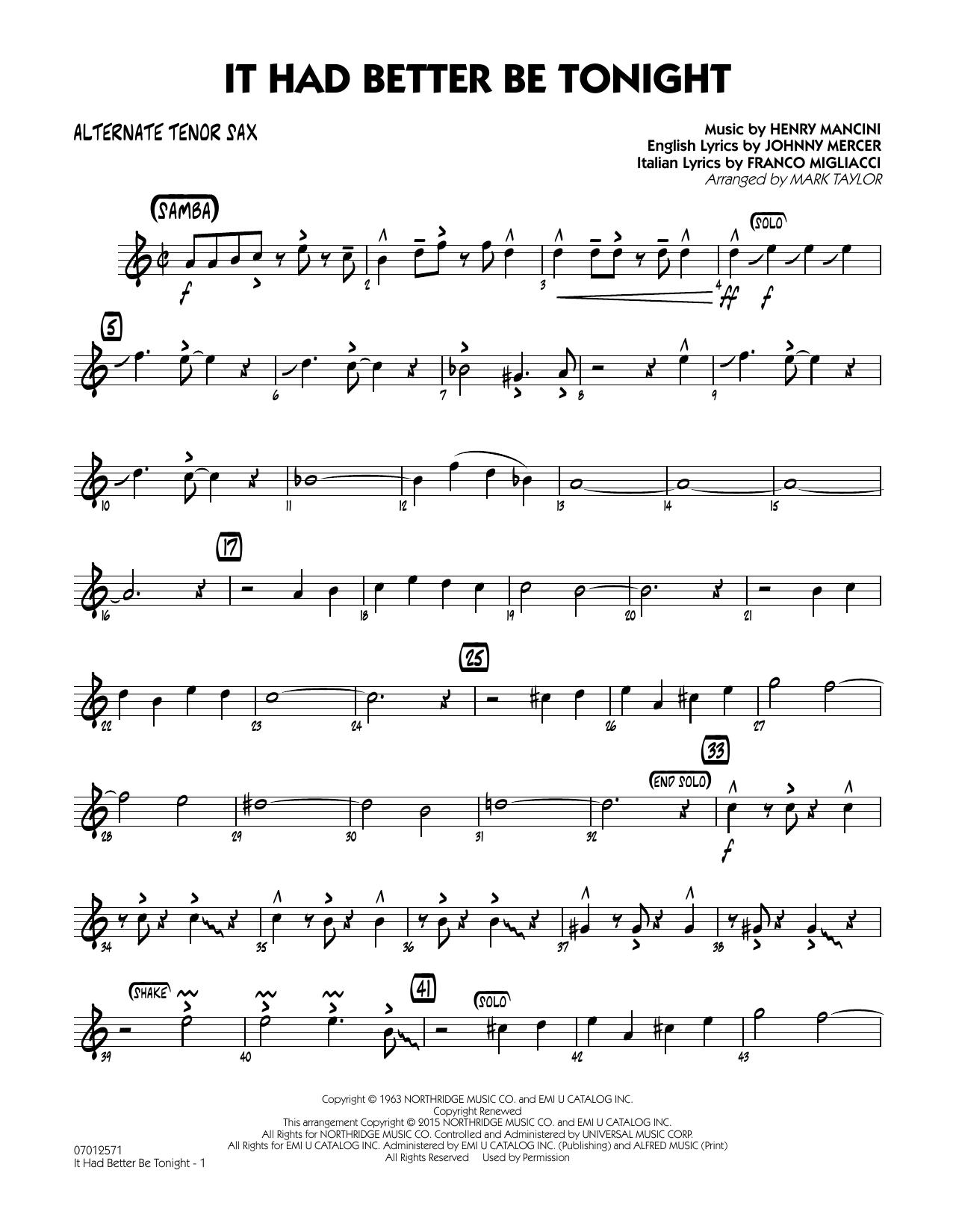 It Had Better Be Tonight - Alternate Tenor Sax (Jazz Ensemble)