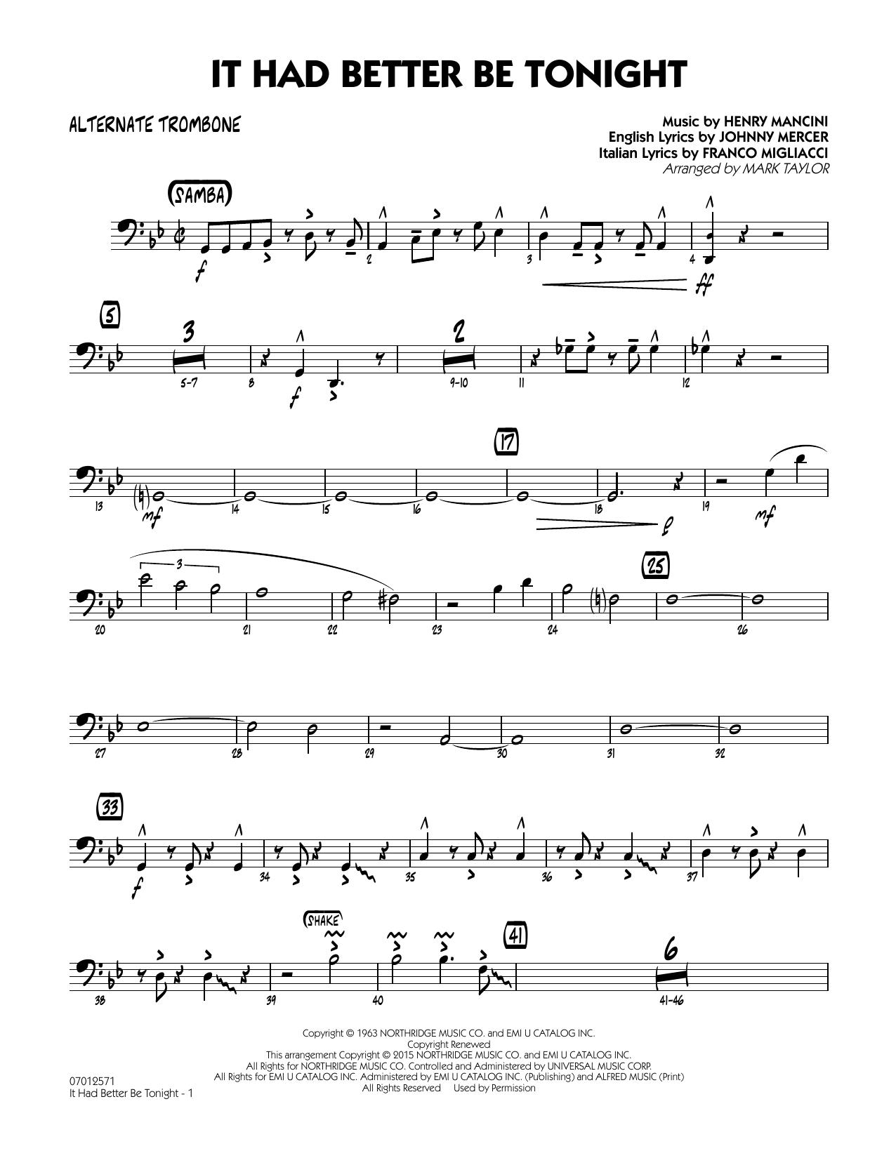 It Had Better Be Tonight - Alternate Trombone (Jazz Ensemble)