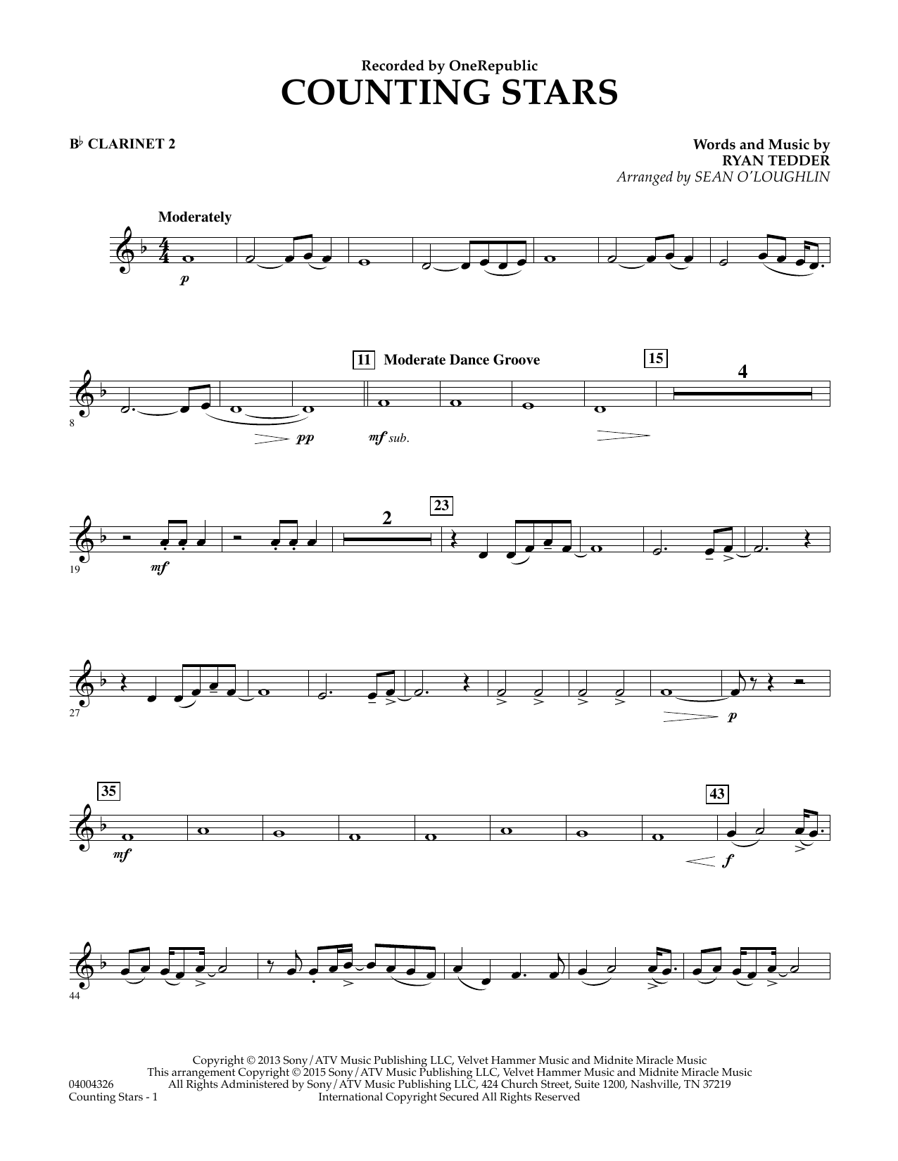 Counting Stars - Bb Clarinet 2 (Concert Band)