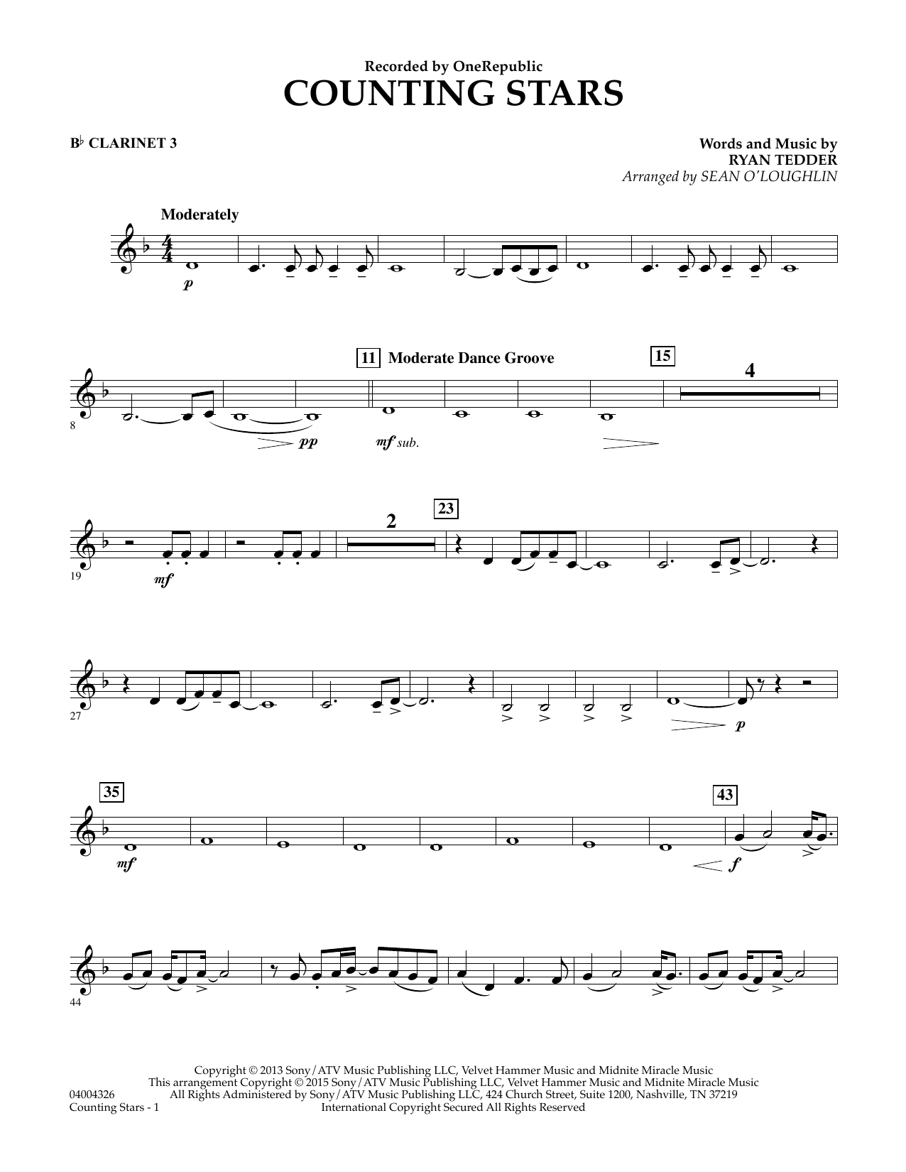 Counting Stars - Bb Clarinet 3 (Concert Band)