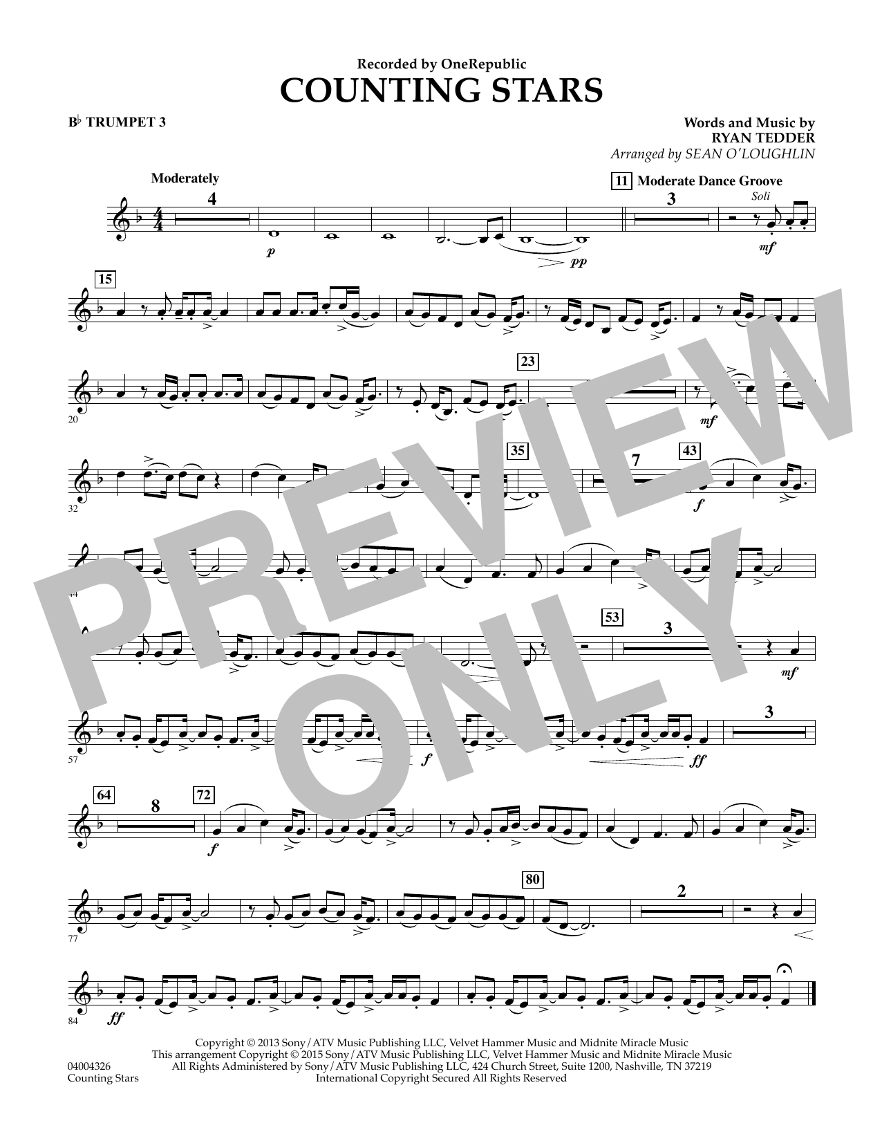 Counting Stars - Bb Trumpet 3 (Concert Band)