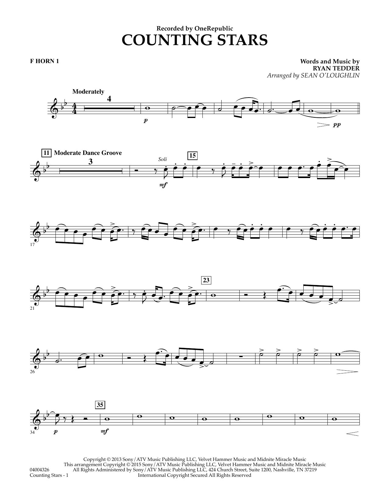 Counting Stars - F Horn 1 (Concert Band)