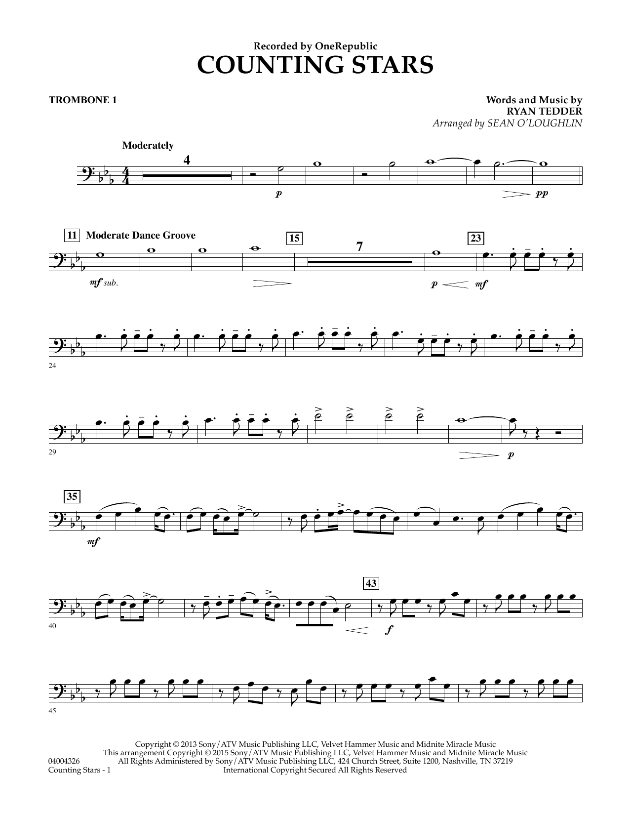 Counting Stars - Trombone 1 (Concert Band)