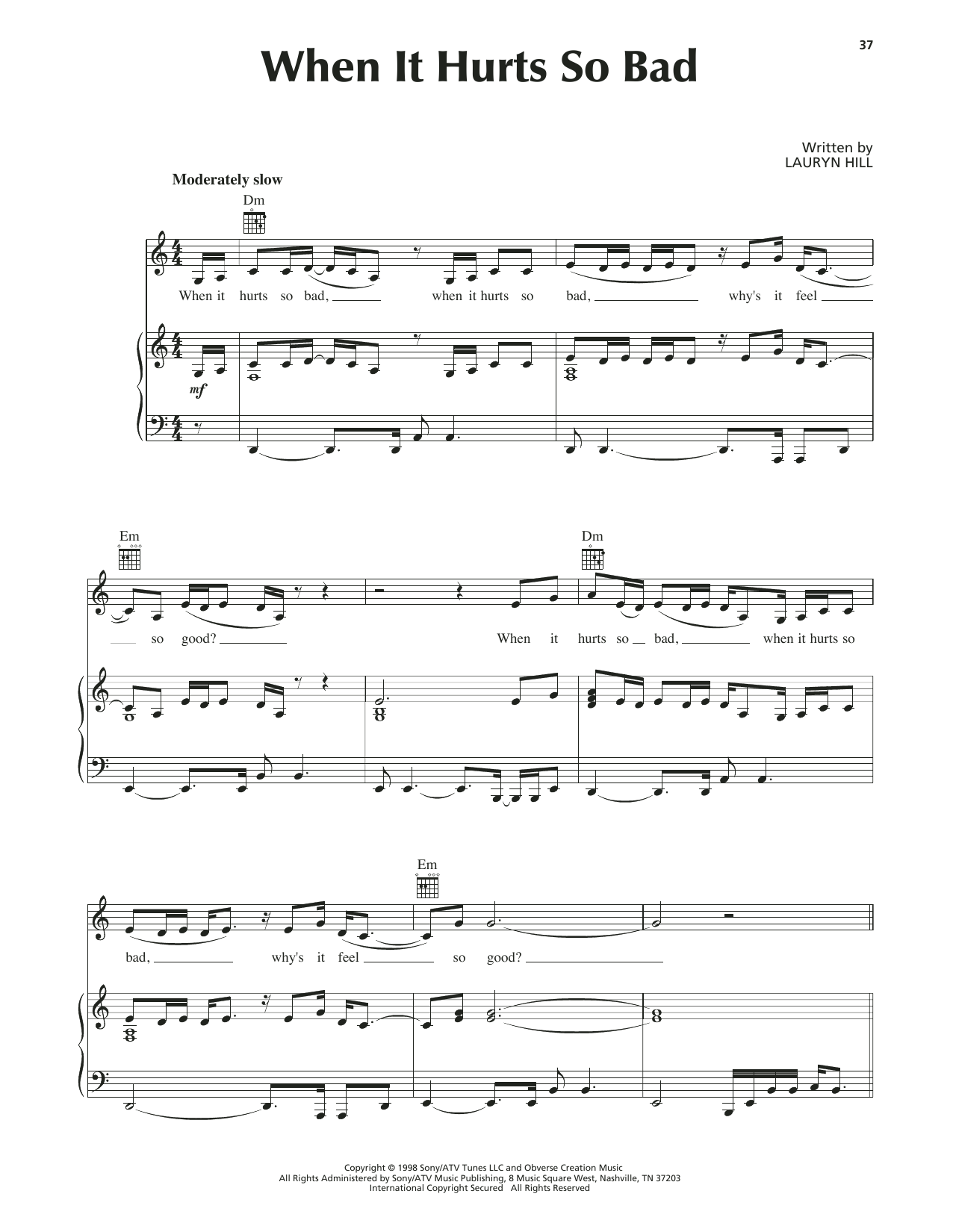 When It Hurts So Bad Sheet Music