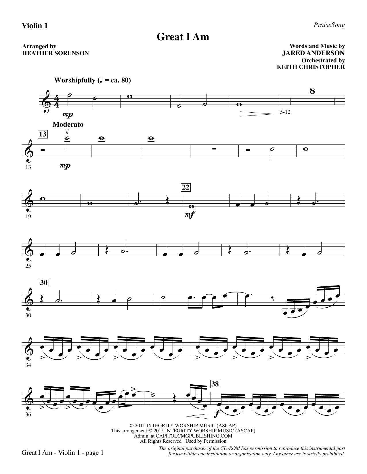 Great I Am - Violin 1 (Choir Instrumental Pak)