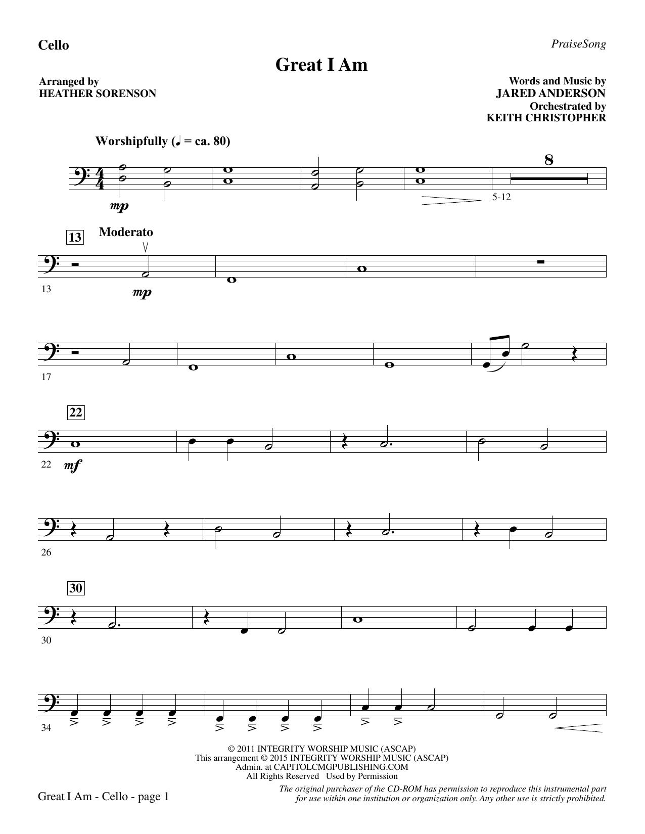 Great I Am - Cello (Choir Instrumental Pak)