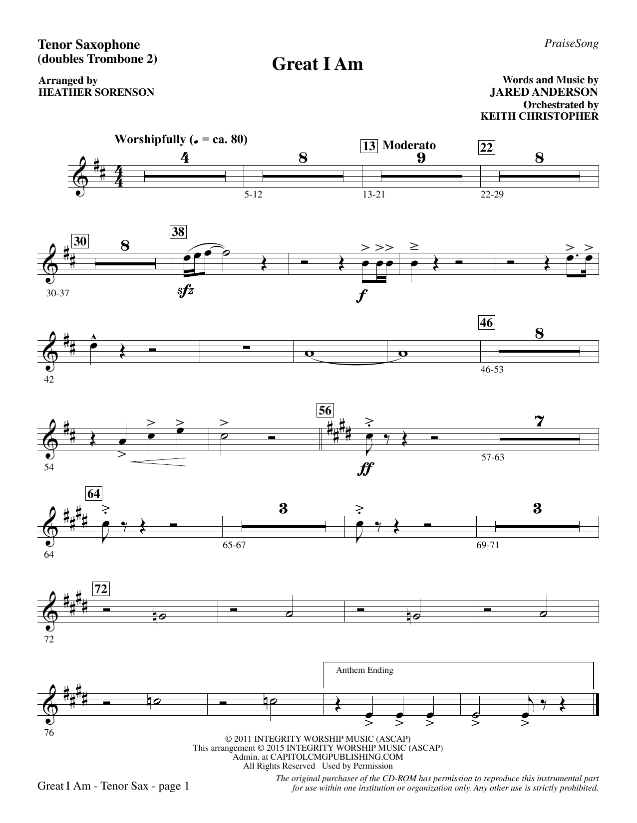 Great I Am - Tenor Sax (sub. Tbn 2) (Choir Instrumental Pak)