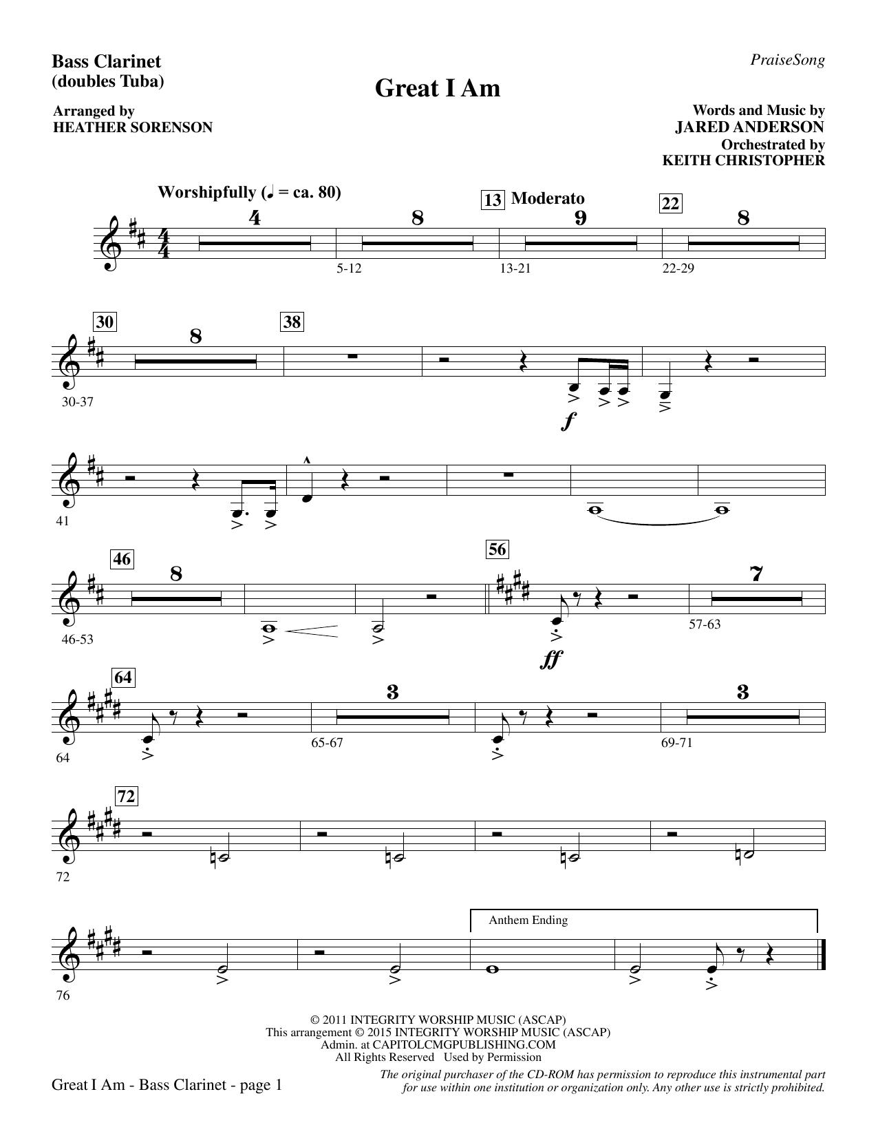 Great I Am - Bass Clarinet (sub. Tuba) (Choir Instrumental Pak)