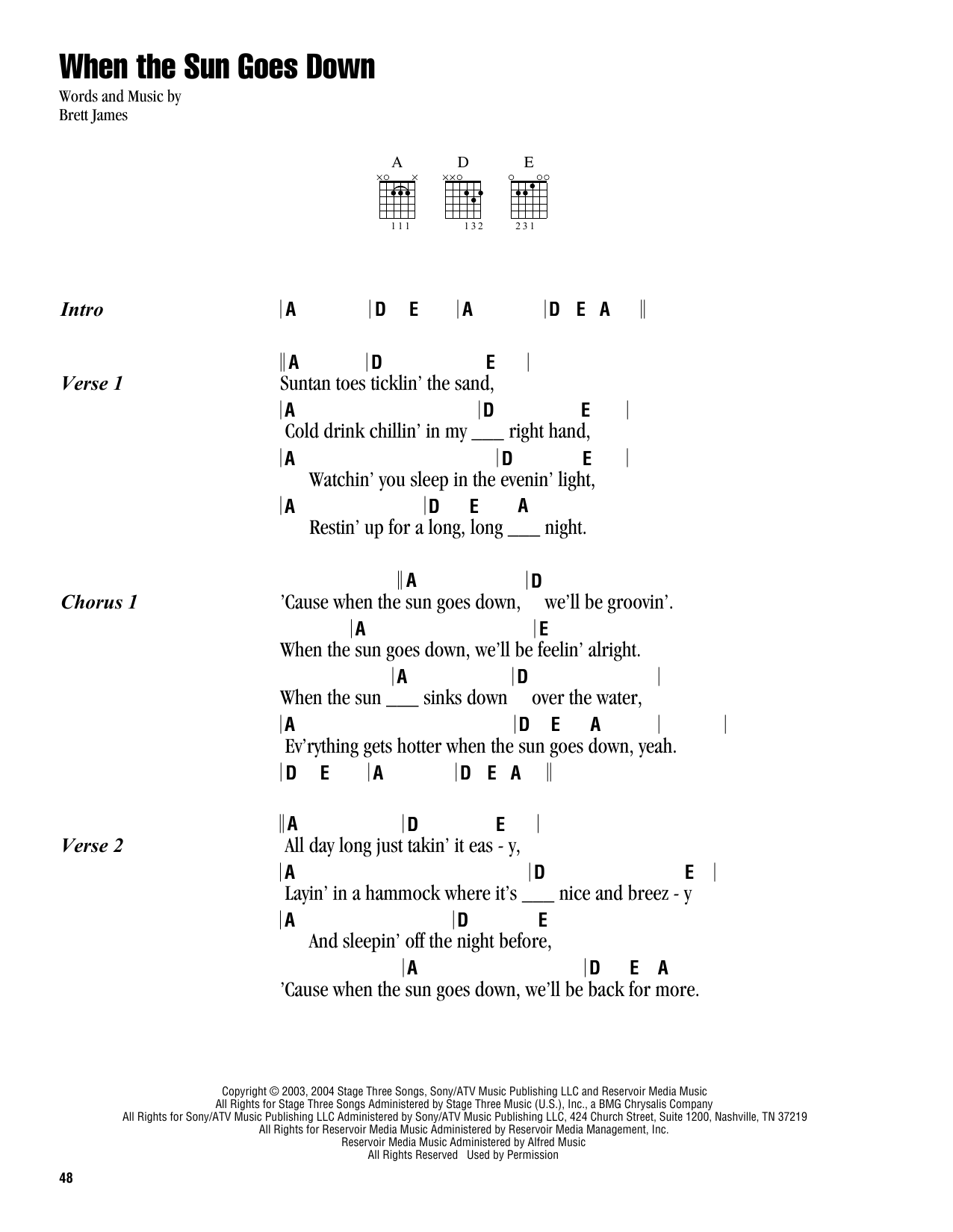 When The Sun Goes Down Sheet Music