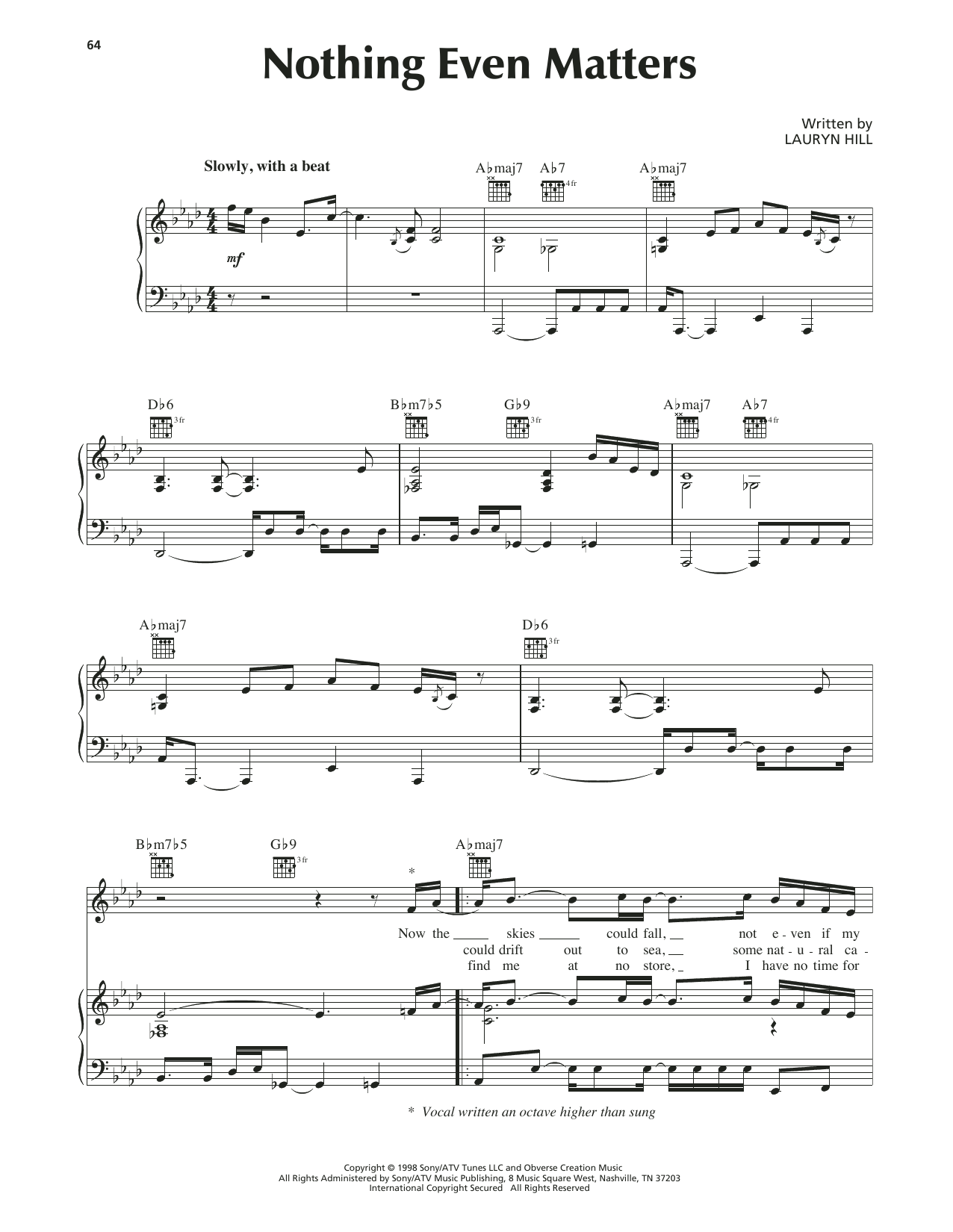 Nothing Even Matters Sheet Music