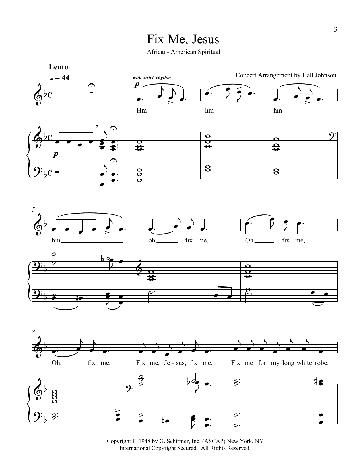 Fix Me, Jesus (F) Sheet Music