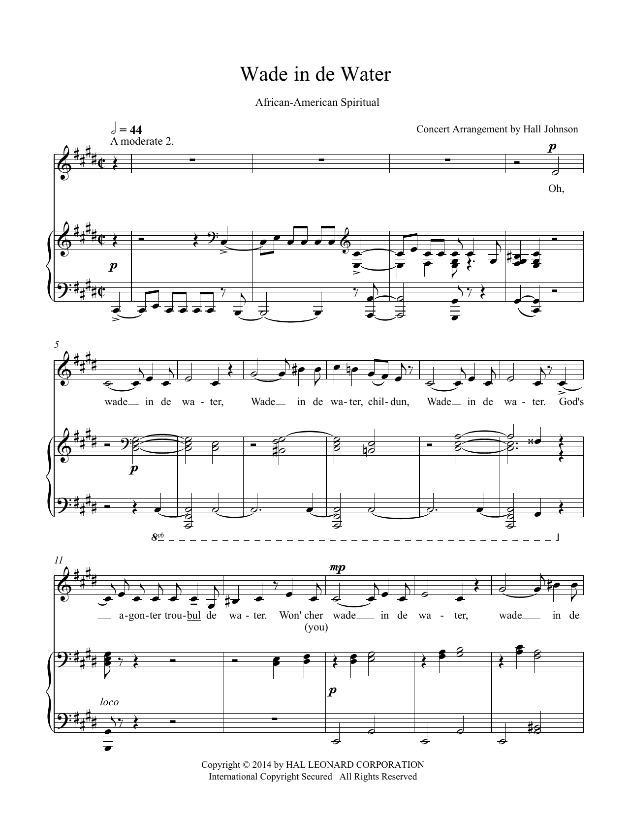 Wade in de Water (C-sharp minor) Sheet Music