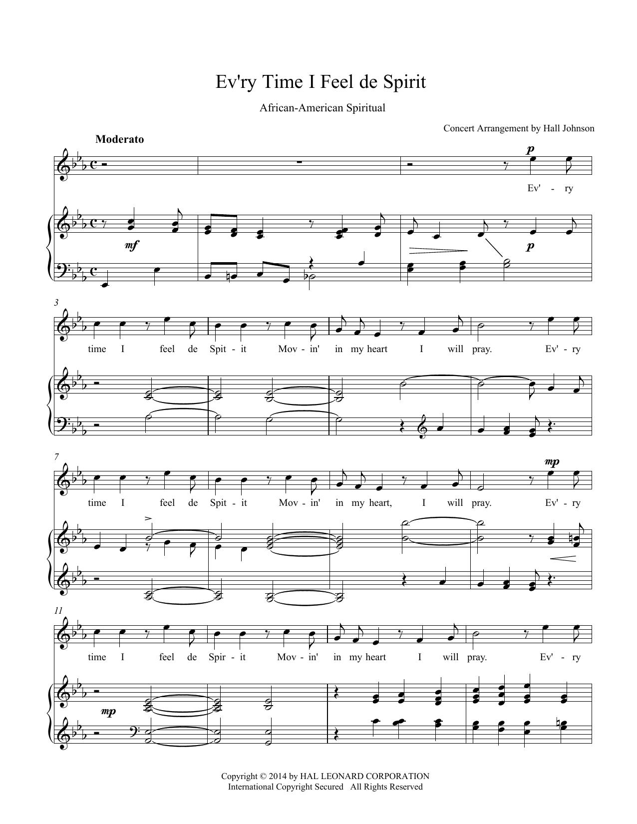 Ev'ry Time I Feel de Spirit (E-flat) Sheet Music