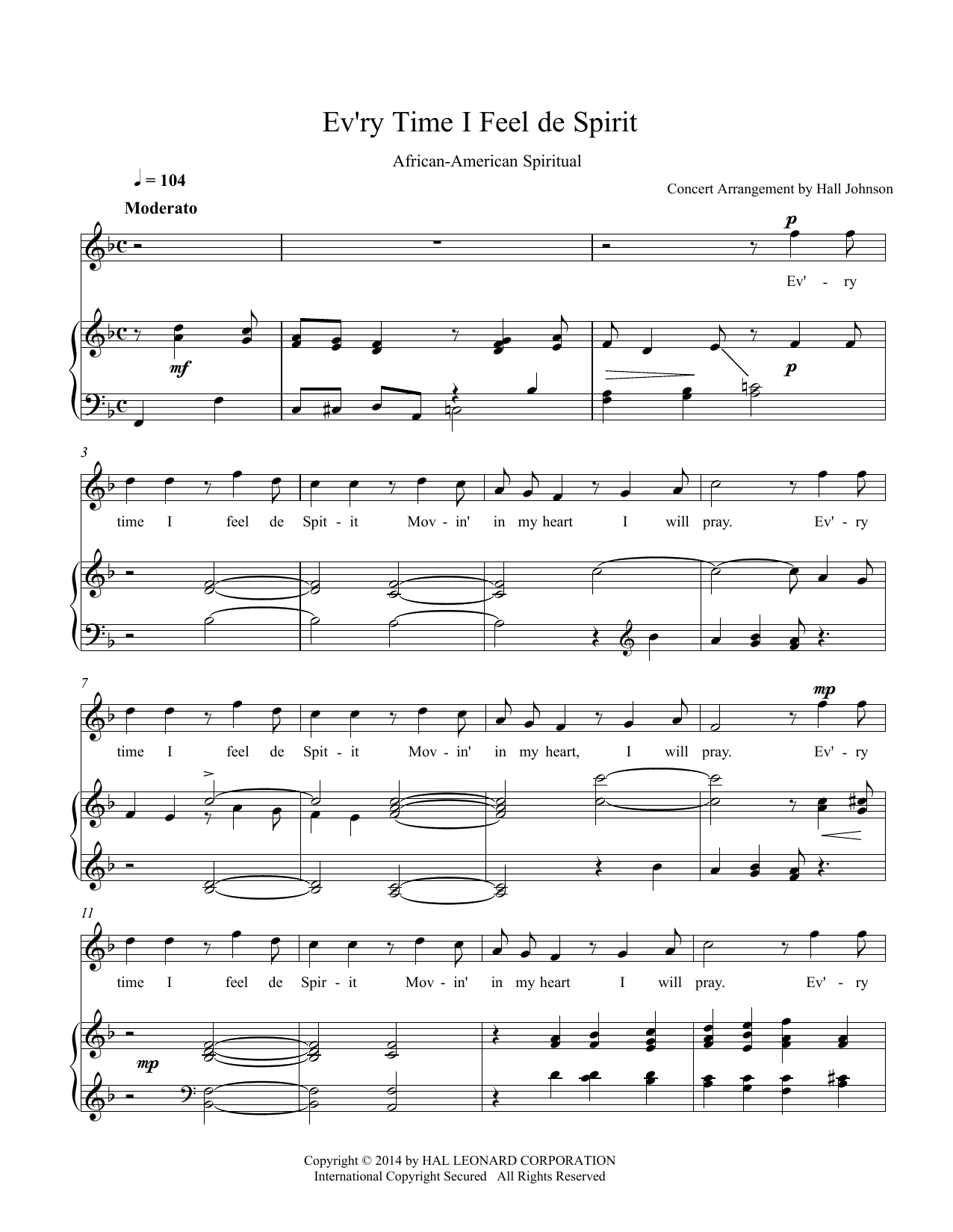 Ev'ry Time I Feel de Spirit (F) Sheet Music