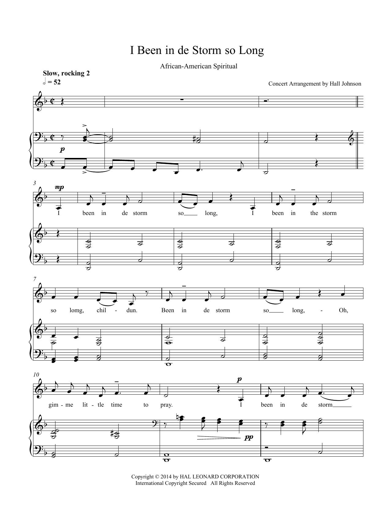 I Been in de Storm So Long (D minor) Sheet Music