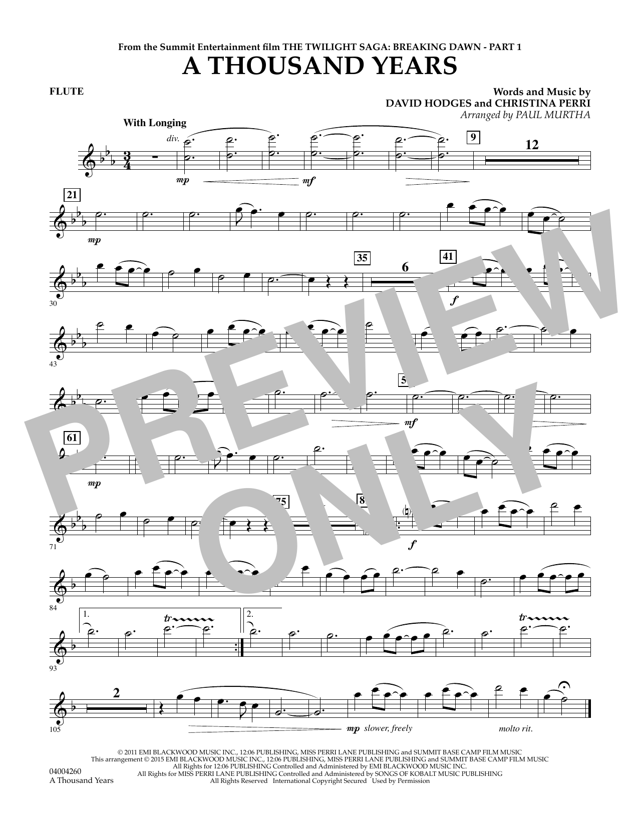 A Thousand Years (from The Twilight Saga: Breaking Dawn, Part 1) - Flute (Concert Band)