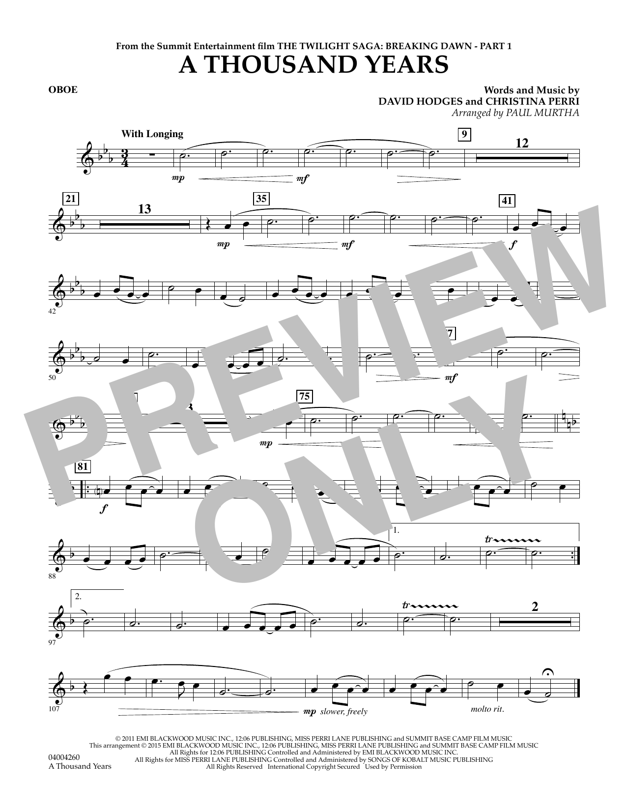 A Thousand Years (from The Twilight Saga: Breaking Dawn, Part 1) - Oboe (Concert Band)