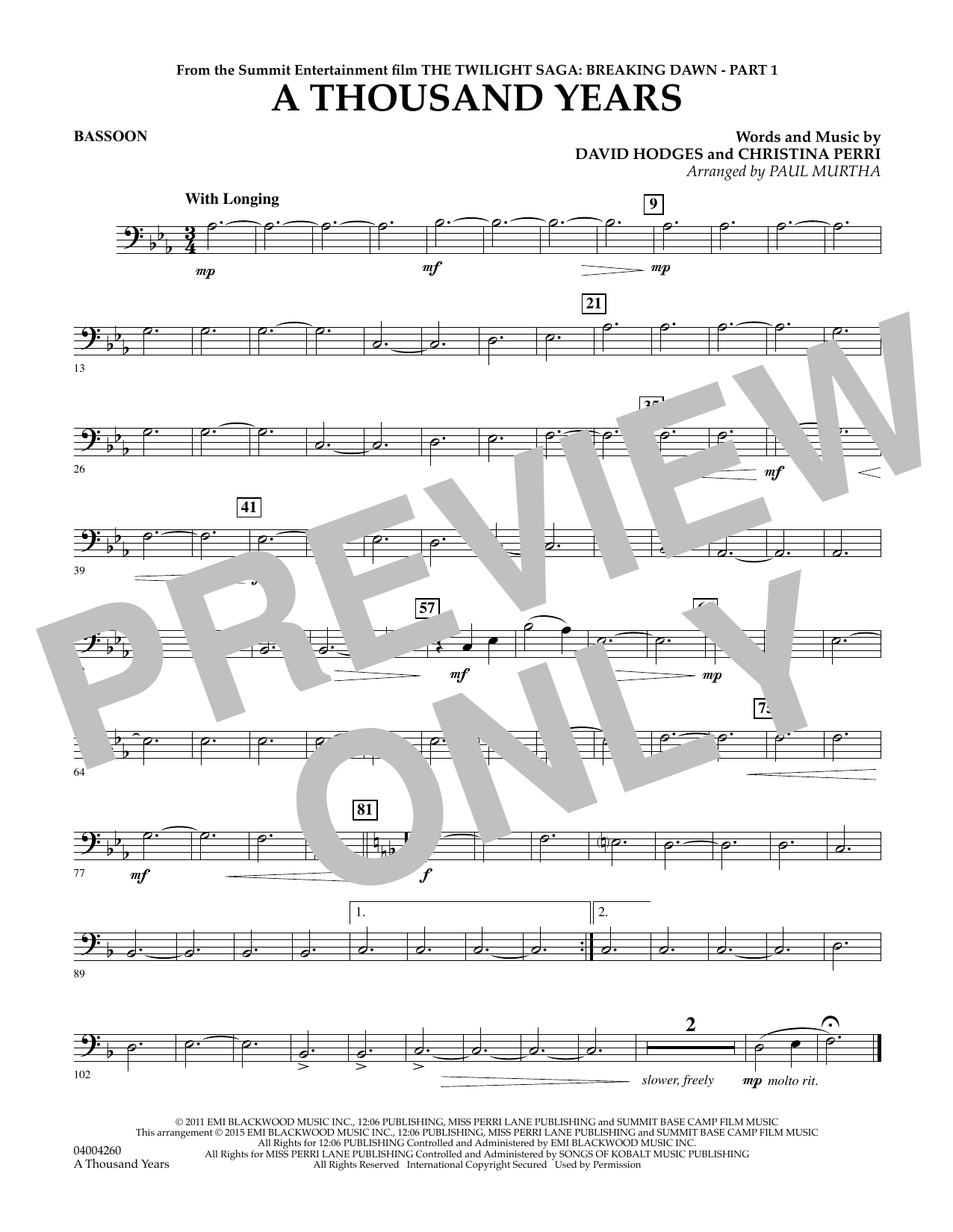 A Thousand Years (from The Twilight Saga: Breaking Dawn, Part 1) - Bassoon (Concert Band)