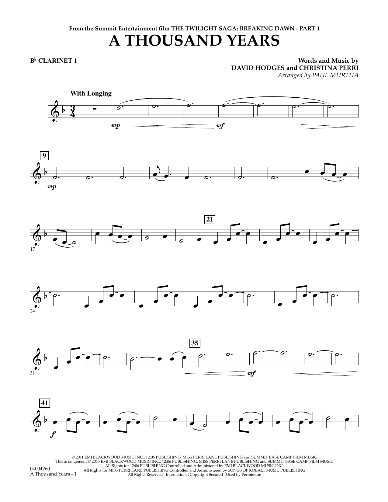 page one of A Thousand Years (from The Twilight Saga: Breaking Dawn, Part 1) - Bb Clarinet 1ASALTTEXT