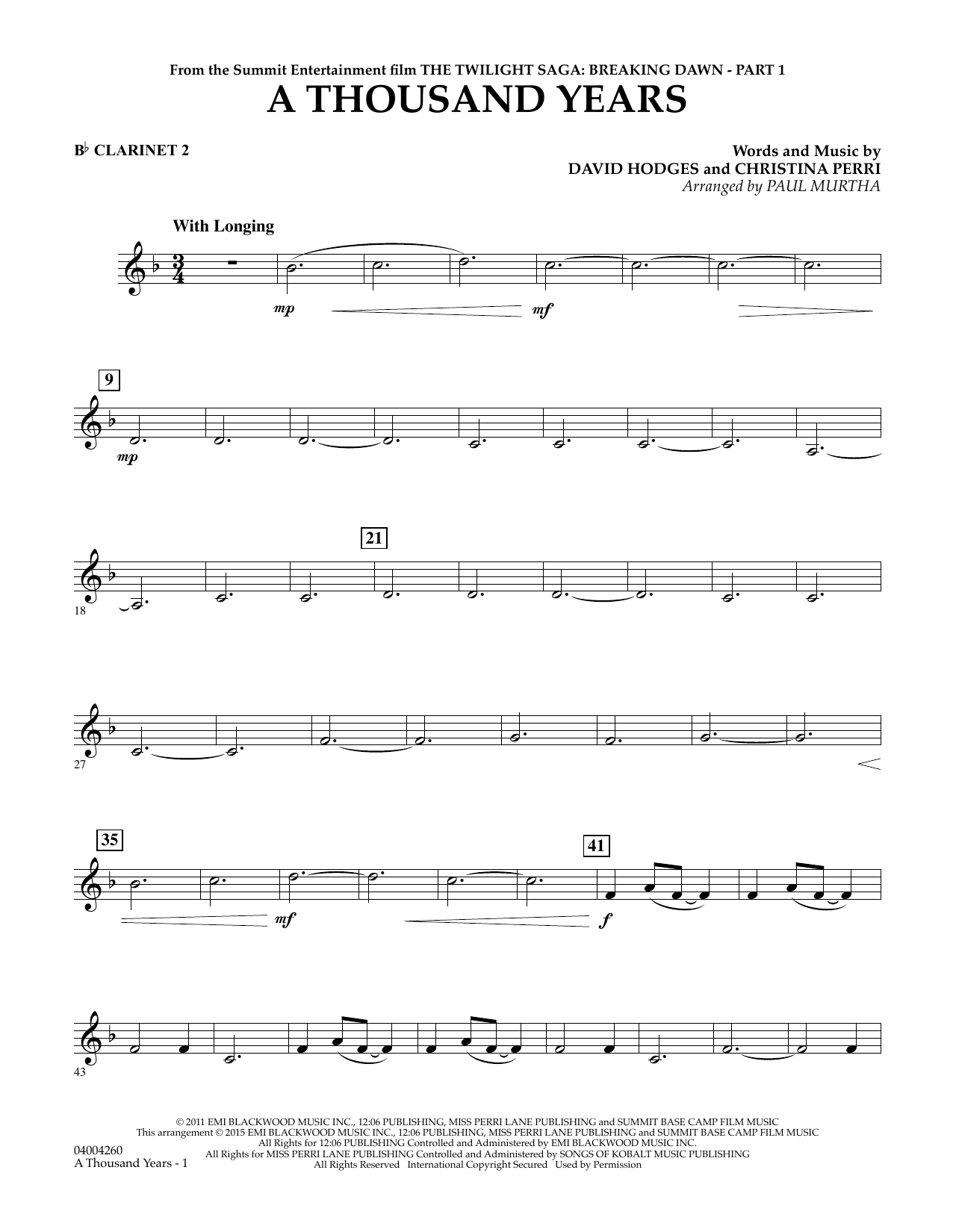 A Thousand Years (from The Twilight Saga: Breaking Dawn, Part 1) - Bb Clarinet 2 (Concert Band)