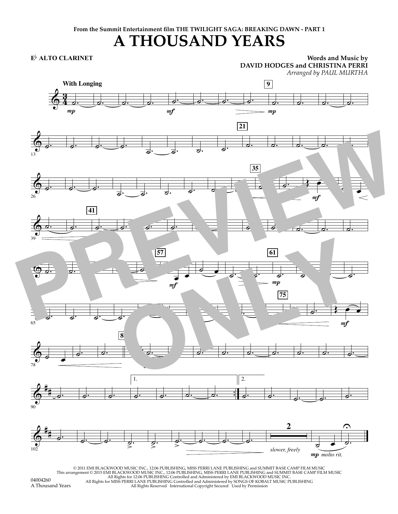 A Thousand Years (from The Twilight Saga: Breaking Dawn, Part 1) - Eb Alto Clarinet (Concert Band)