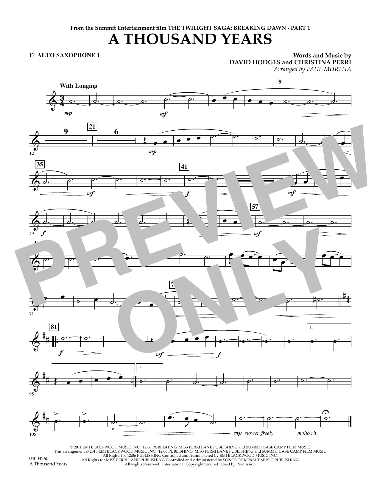 A Thousand Years (from The Twilight Saga: Breaking Dawn, Part 1) - Eb Alto Saxophone 1 (Concert Band)