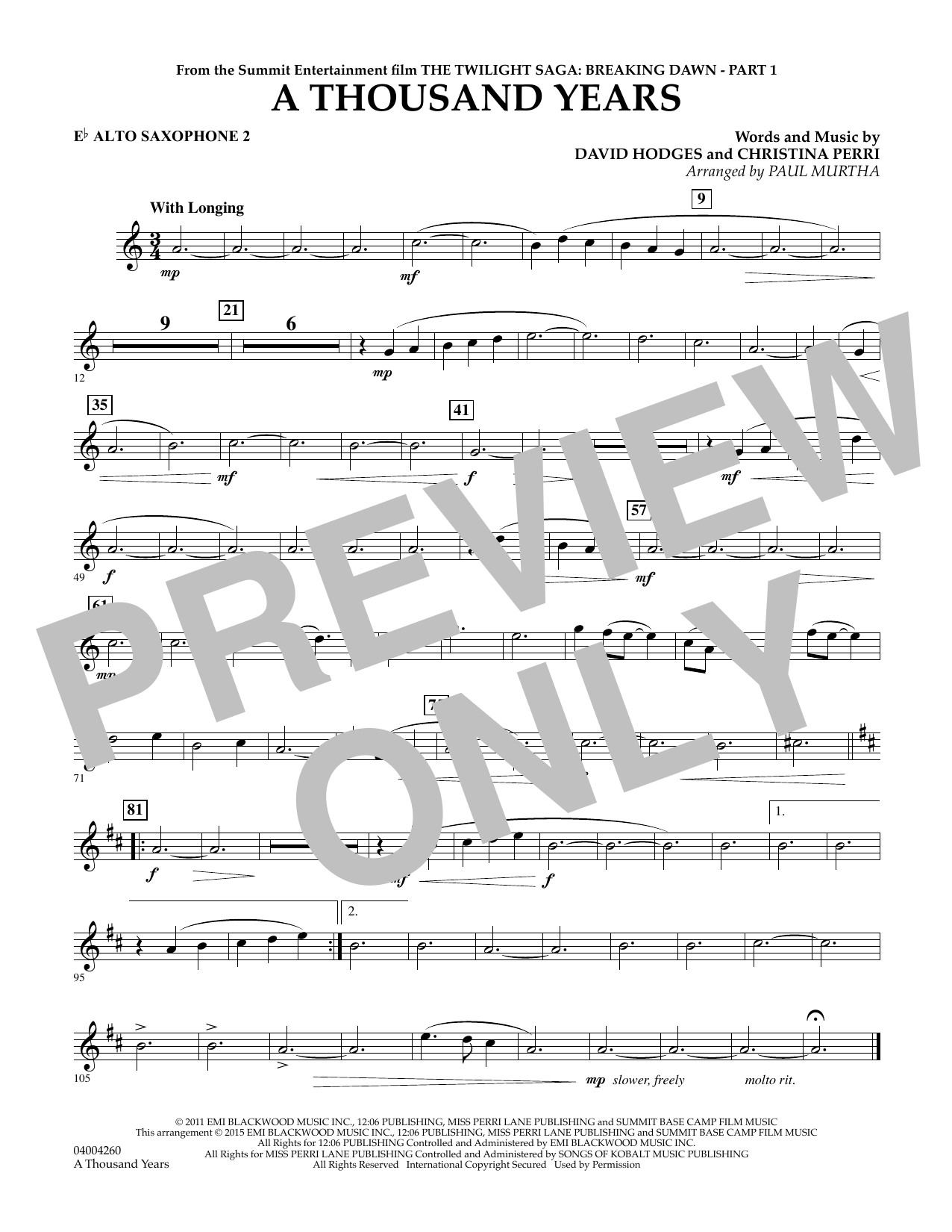 page one of A Thousand Years (from The Twilight Saga: Breaking Dawn, Part 1) - Eb Alto Saxophone 2ASALTTEXT