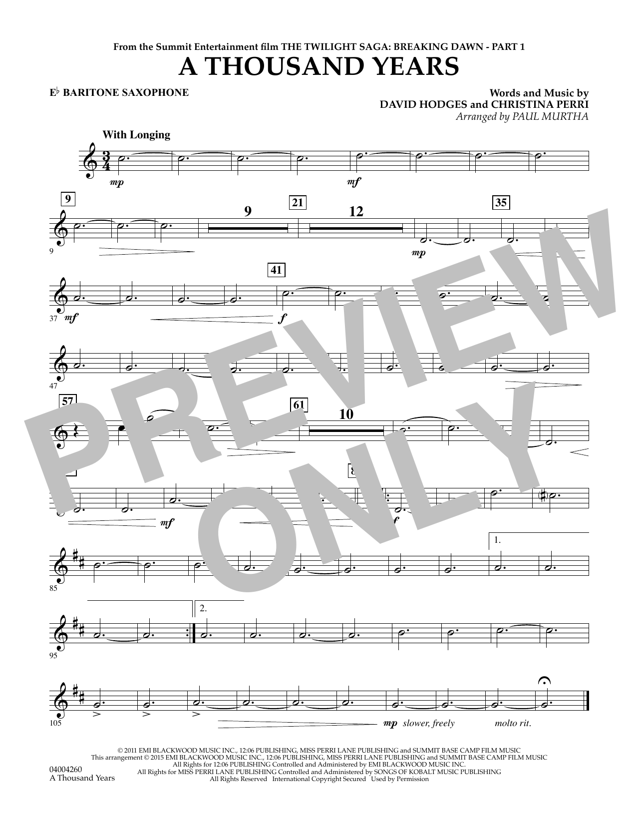 A Thousand Years (from The Twilight Saga: Breaking Dawn, Part 1) - Eb Baritone Saxophone (Concert Band)